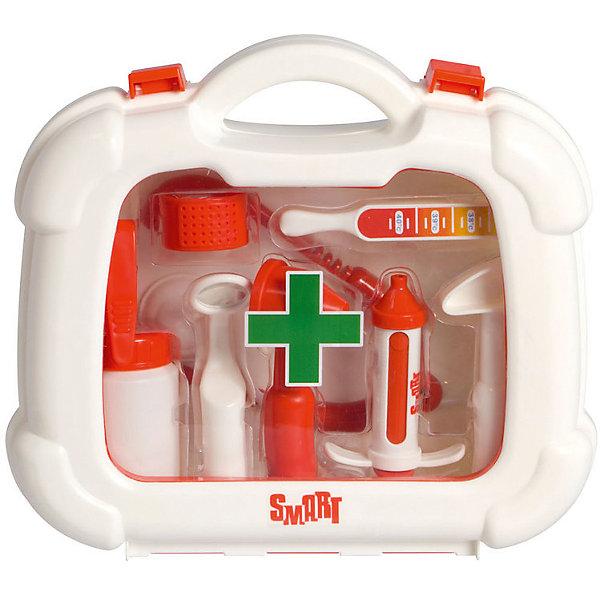 Набор доктора в чемоданчике HTI SmartНаборы доктора и ветеринара<br>Характеристики товара: <br><br>• Материал: пластик<br>• Размер упаковки 23,5х24,5х7,7 см<br>• Вес упаковки 0,5 кг<br>• Страна производитель: Китай<br><br>Набор доктора в чемоданчике Smart HTI позволит ребенку попробовать себя в роли доктора и придумать разнообразные сюжеты для игры. В чемодане имеются все необходимые предметы для лечения пациентов. Чемоданчик оснащен удобной ручкой для переноски и закрывается на защелки. Играя с набором, у детей развивается фантазия, воображение, логическое мышление.<br><br>Игрушка изготовлена из качественного нетоксичного пластика. В наборе чемодан, ножницы, стетоскоп, шприц, баночка для лекарств, градусник, молоточек, пинцет, зеркало.<br><br>Набор доктора в чемоданчике Smart HTI можно приобрести в нашем интернет-магазине.<br>Ширина мм: 235; Глубина мм: 245; Высота мм: 77; Вес г: 500; Возраст от месяцев: 36; Возраст до месяцев: 2147483647; Пол: Унисекс; Возраст: Детский; SKU: 5514325;