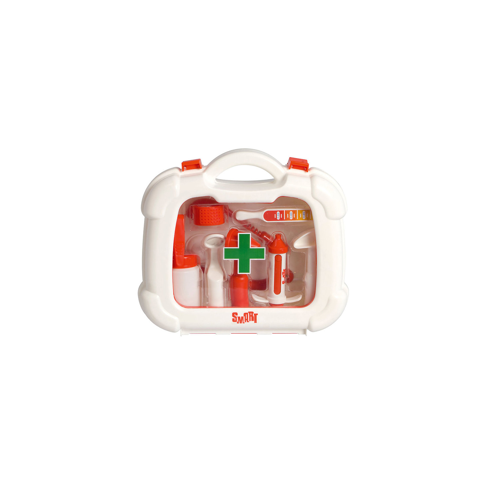 Набор доктора в чемоданчике HTI SmartСюжетно-ролевые игры<br>Характеристики товара: <br><br>• Материал: пластик<br>• Размер упаковки 23,5х24,5х7,7 см<br>• Вес упаковки 0,5 кг<br>• Страна производитель: Китай<br><br>Набор доктора в чемоданчике Smart HTI позволит ребенку попробовать себя в роли доктора и придумать разнообразные сюжеты для игры. В чемодане имеются все необходимые предметы для лечения пациентов. Чемоданчик оснащен удобной ручкой для переноски и закрывается на защелки. Играя с набором, у детей развивается фантазия, воображение, логическое мышление.<br><br>Игрушка изготовлена из качественного нетоксичного пластика. В наборе чемодан, ножницы, стетоскоп, шприц, баночка для лекарств, градусник, молоточек, пинцет, зеркало.<br><br>Набор доктора в чемоданчике Smart HTI можно приобрести в нашем интернет-магазине.<br><br>Ширина мм: 235<br>Глубина мм: 245<br>Высота мм: 77<br>Вес г: 500<br>Возраст от месяцев: 36<br>Возраст до месяцев: 2147483647<br>Пол: Унисекс<br>Возраст: Детский<br>SKU: 5514325