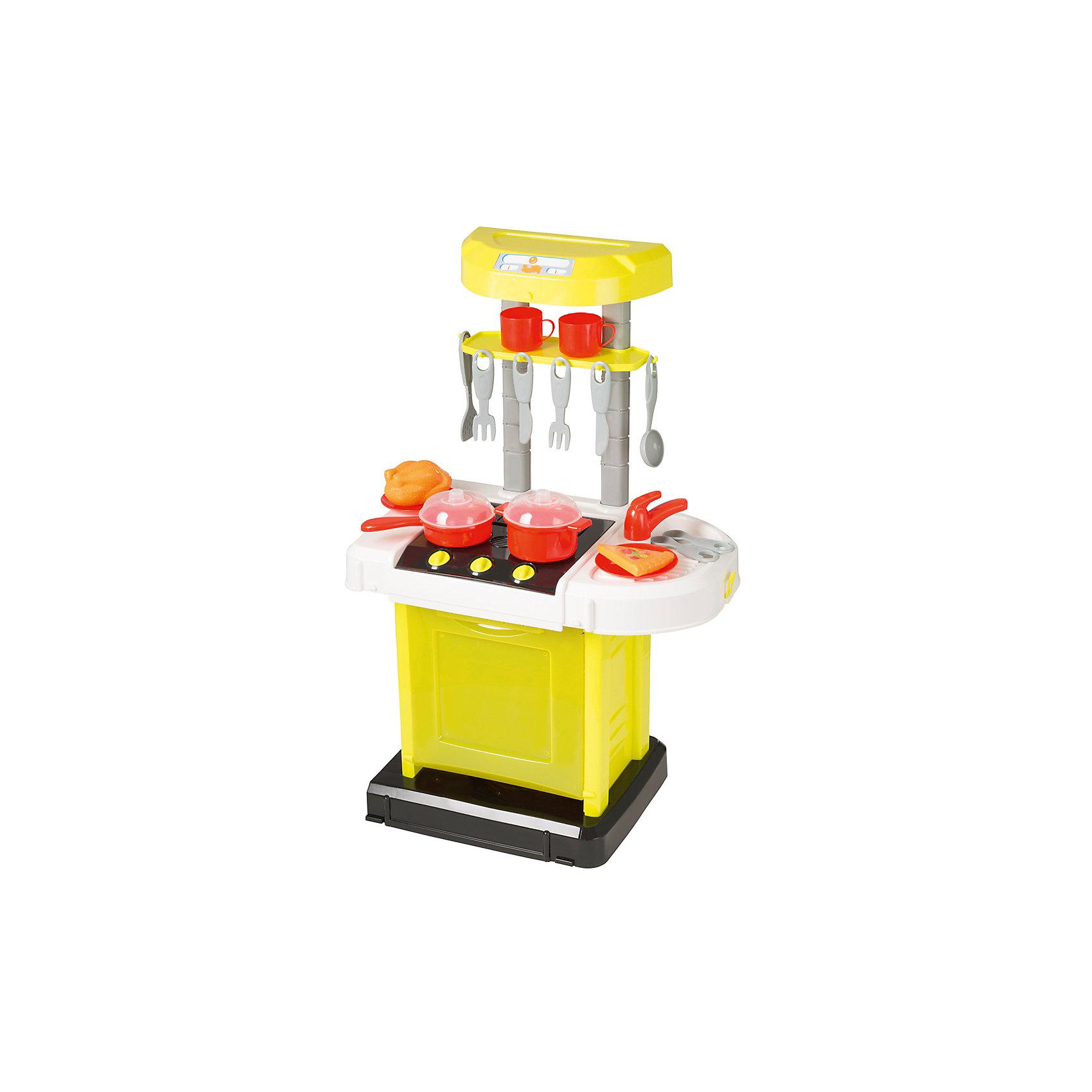 Электронная портативная кухня Smart, HTIДетские кухни<br>Характеристики товара:<br><br>• Материал: пластик<br>• Возраст: от 3 лет<br>• Тип батареек: 3 х АА / LR6 1.5V (пальчиковые)<br>• Наличие батареек: не входят в комплект<br>• Высота кухни: 65 см<br>• Размер кухни 65х41,5х24,8 см<br>• Размер упаковки 48х31х10 см<br>• Вес упаковки 2 кг<br>• Страна бренда: Великобритания<br>• Страна производитель: Китай<br><br>Электронная портативная кухня Smart HTI — детская кухня для юной хозяйки с варочной панелью и набором посуды. Она познакомит девочку с устройством бытовых приборов и позволит попробовать себя настоящим поваром и приготовить вкусные блюда. Игрушка оснащена световыми и звуковыми эффектами, делая игру реалистичней. Во время приготовления горят конфорки, слышны звуки масла на сковороде и кипящего бульона. Все столовые приборы повешены на крючки. После приготовления посуду можно помыть в раковине.<br><br>Кухня изготовлена из качественного пластика. Для работы звуковых и световых эффектов требуются 3 батарейки АА (в комплект не входят). Складывается в чемодан для хранения, ее можно взять в гости к друзьям или в поездку на дачу. В наборе кухня, раковина, варочная панель, набор посуды, кастрюли, пицца, курица.<br><br>Электронную портативную кухню Smart HTI можно приобрести в нашем интернет-магазине.<br><br>Ширина мм: 870<br>Глубина мм: 260<br>Высота мм: 500<br>Вес г: 2000<br>Возраст от месяцев: 36<br>Возраст до месяцев: 2147483647<br>Пол: Унисекс<br>Возраст: Детский<br>SKU: 5514327