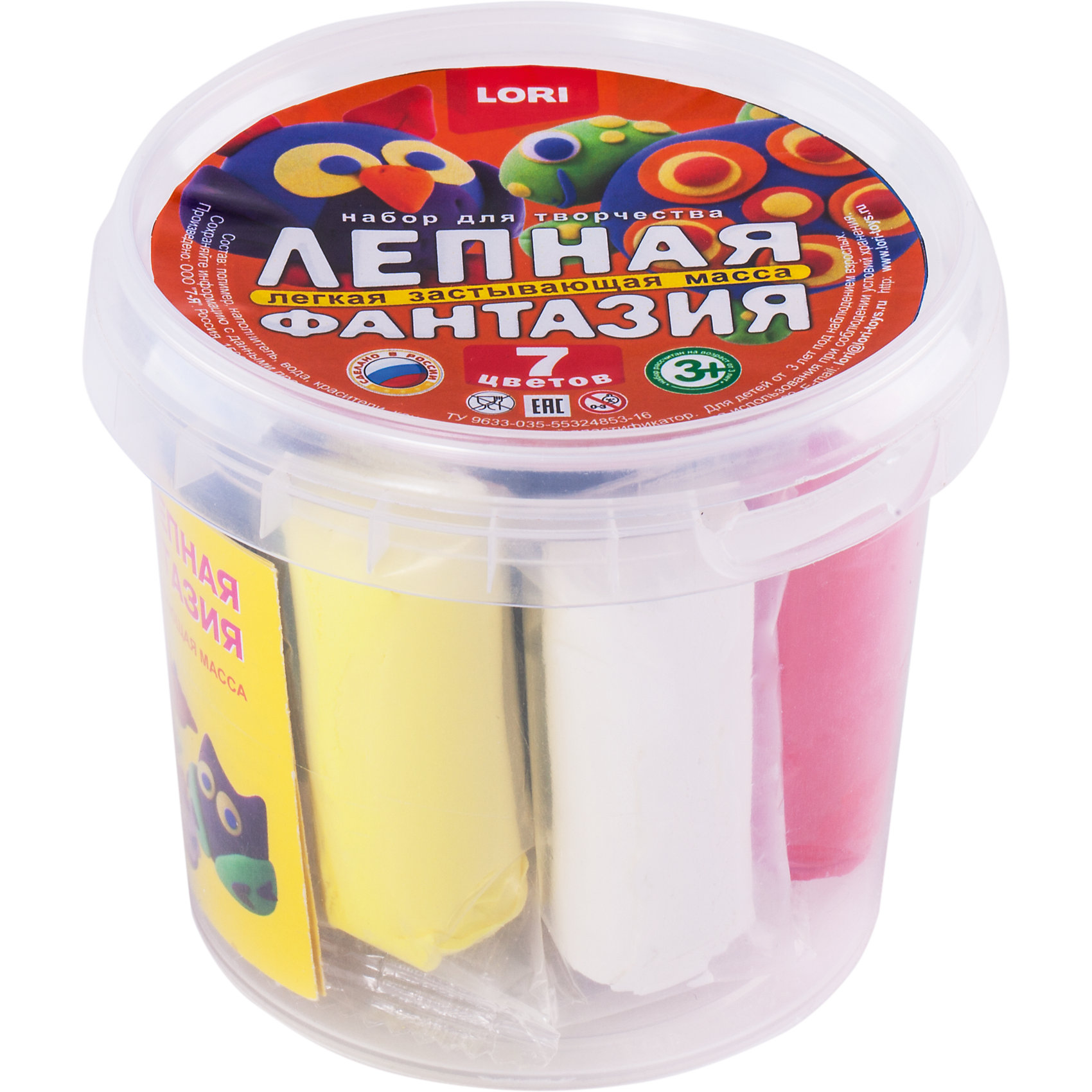 Масса для лепки Лепная фантазияЛепка<br>Лепная фантазия в ведре, 7 цветов по 6 гр.<br><br>Характеристики:<br><br>• Возраст: от 3 лет<br>• В наборе: пластилин 7 цветов по 6 гр, стек, деревянные палочки, инструкция<br>• Размер упаковки: 99х85 мм.<br><br>Набор для творчества Лепная фантазия от бренда LORI включает в себя 7 разноцветных брусков пластилина, находящихся в пластиковом ведре. Пластилин хорошо мнется, не прилипает рукам и одежде. Пластилин быстро застывает на воздухе, и готовая поделка из него может занять свое место в коллекции фигурок на полке в детской комнате. <br><br>Лепка - занятие не только веселое и увлекательное, но и полезное! Оно помогает детям развивать усидчивость, воображение, образное восприятие мира, а также мелкую моторику рук.<br><br>Набор Лепная фантазия в ведре, 7 цветов по 6 гр. можно купить в нашем интернет-магазине.<br><br>Ширина мм: 99<br>Глубина мм: 99<br>Высота мм: 85<br>Вес г: 104<br>Возраст от месяцев: 36<br>Возраст до месяцев: 2147483647<br>Пол: Унисекс<br>Возраст: Детский<br>SKU: 5514602