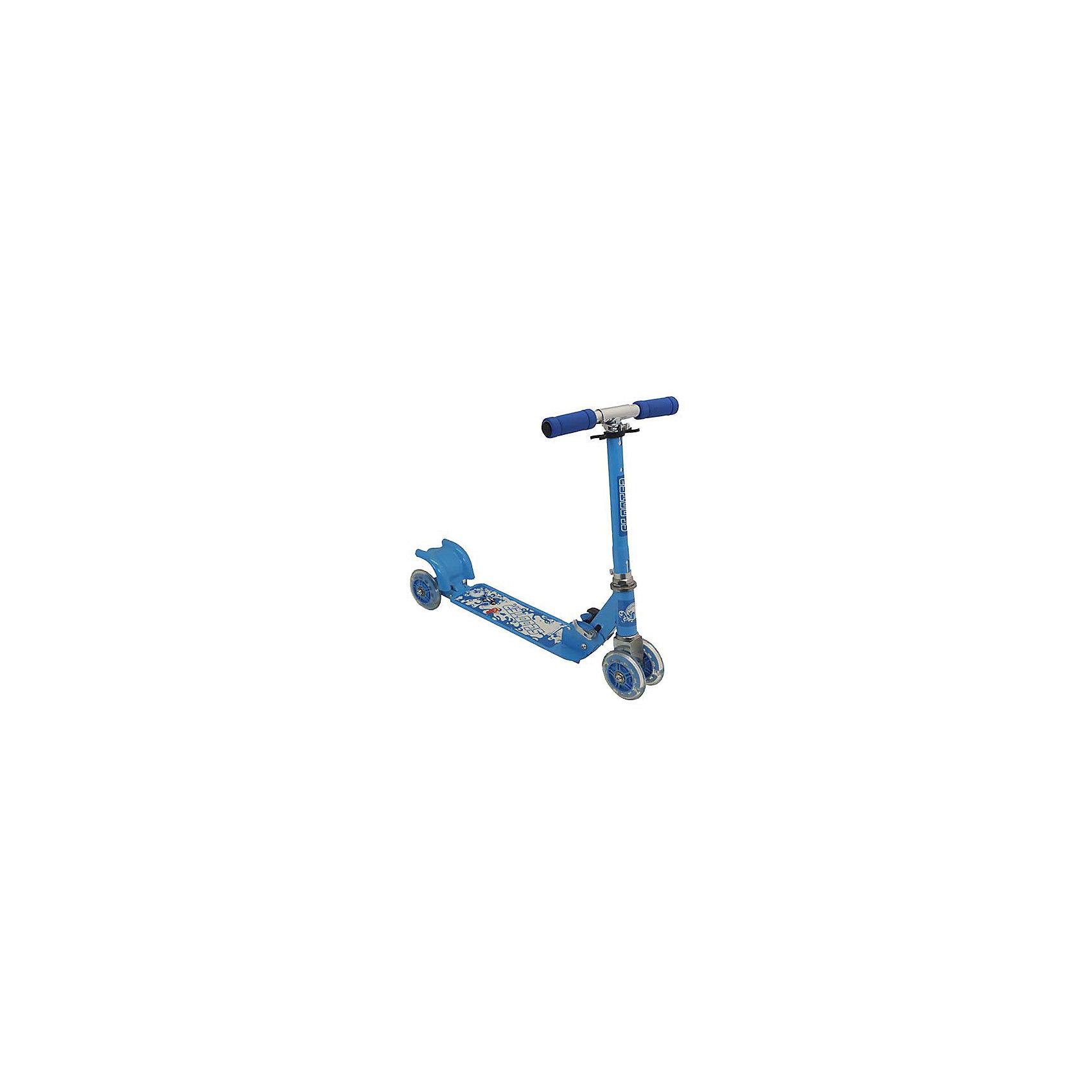 Самокат четырехколесный, колеса 98мм PVC, голубой, CharmingsportsСамокаты<br>Основные характеристики<br><br>Тип: четырехколесный, складной<br>Материал рамы: 100% сталь<br>Материал ручек: вспененный полипропилен<br>Размер деки: 330х105мм (с порошковым напылением)<br>Регулируемая высота рулевой стойки (макс. - 66см)<br>Материал колёс: поливинилхлорид<br>Размер колёс: 98мм (светящиеся)<br>Подшипник: ABEC-5<br>Максимальный вес пользователя: 20кг<br>Вес: 2.17кг<br>Цвет: голубой<br>Вид использования: любительское катание на самокате<br>Страна-производитель: Китай<br>Упаковка: индивидуальная цветная коробка<br><br>Преимущества самоката CMS010:<br><br>- необычные светящиеся колеса;<br>- простая в использовании система торможения с помощью заднего колеса (достаточно наступить на педаль тормоза, расположенную над задним колесом);<br>- надежная устойчивая складная конструкция;<br>- мягкие ручки.<br><br>Ширина мм: 540<br>Глубина мм: 100<br>Высота мм: 160<br>Вес г: 2170<br>Возраст от месяцев: 36<br>Возраст до месяцев: 84<br>Пол: Унисекс<br>Возраст: Детский<br>SKU: 5514778