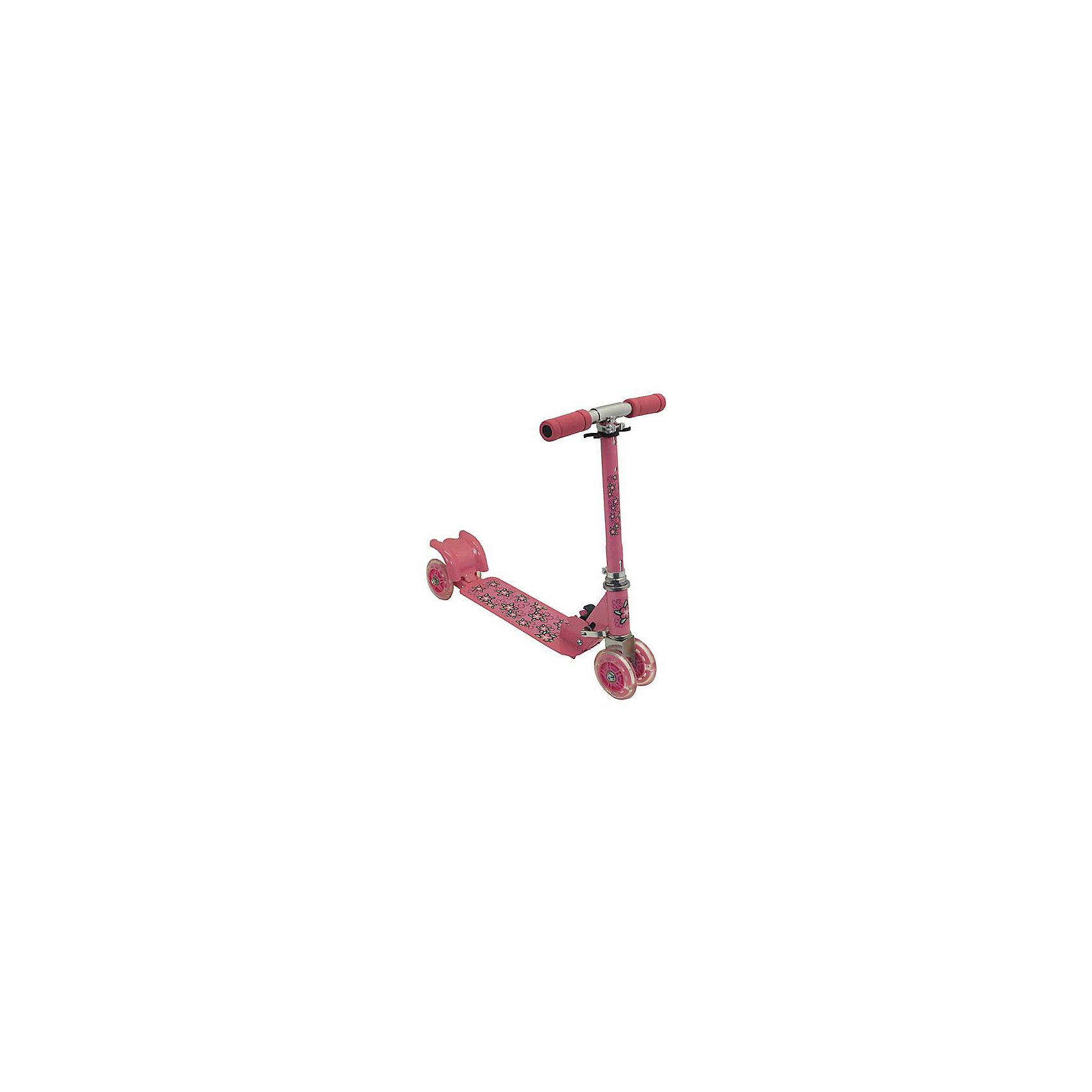 Самокат четырехколесный, колеса 98мм PVC, розовый, CharmingsportsСамокаты<br>Основные характеристики<br><br>Тип: четырехколесный, складной<br>Материал рамы: 100% сталь<br>Материал ручек: вспененный полипропилен<br>Размер деки: 330х105мм (с порошковым напылением)<br>Регулируемая высота рулевой стойки (макс. - 66см)<br>Материал колёс: поливинилхлорид<br>Размер колёс: 98мм (светящиеся)<br>Подшипник: ABEC-5<br>Максимальный вес пользователя: 20кг<br>Вес: 2.17кг<br>Цвет: розовый<br>Вид использования: любительское катание на самокате<br>Страна-производитель: Китай<br>Упаковка: индивидуальная цветная коробка<br><br>Преимущества самоката CMS010:<br><br>- необычные светящиеся колеса;<br>- простая в использовании система торможения с помощью заднего колеса (достаточно наступить на педаль тормоза, расположенную над задним колесом);<br>- надежная устойчивая складная конструкция;<br>- мягкие ручки.<br><br>Ширина мм: 540<br>Глубина мм: 100<br>Высота мм: 160<br>Вес г: 2170<br>Возраст от месяцев: 36<br>Возраст до месяцев: 84<br>Пол: Унисекс<br>Возраст: Детский<br>SKU: 5514779