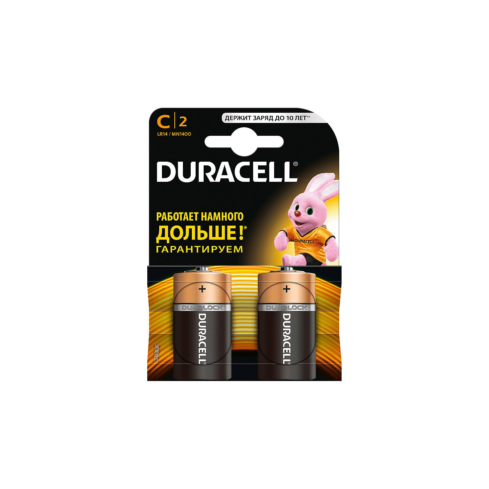 Батарейки алкалиновые Basic 1.5V LR14, тип AA, 2шт., DURACELLДетская электроника<br>Характеристики:<br><br>• Тип электролита: алкалиновые<br>• Тип по питанию: АА <br>• Комплектация: 2 батарейки<br>• Вес в упаковке: 100 г<br>• Размеры упаковки (Д*Ш*В): 17*2,6*2,6 см<br>• Упаковка: картонная коробка с европодвесом <br><br>Батарейки алкалиновые Basic 1.5V LR14, тип AA, 2 шт., DURACELL от всемирно известного торгового бренда DURACELL, который является создателем первой щелочной батарейки. Щелочные батарейки отличаются более длительным сроком службы, повышенной герметичностью, благодаря чему батарейки от  DURACELL не протекают. <br><br>Элементы питания хорошо переносят низкие температуры, сохраняя при этом свои свойства и качества. В наборе предусмотрены две батарейки. Батарейки алкалиновые Basic 1.5V LR14, тип AA, 2 шт., DURACELL – это длительный срок службы и бесперебойность в работе портативных электронных устройств!<br><br>Батарейки алкалиновые Basic 1.5V LR14, тип AA, 2 шт., DURACELL можно купить в нашем интернет-магазине.<br><br>Ширина мм: 50<br>Глубина мм: 26<br>Высота мм: 26<br>Вес г: 100<br>Возраст от месяцев: 60<br>Возраст до месяцев: 1188<br>Пол: Унисекс<br>Возраст: Детский<br>SKU: 5514791