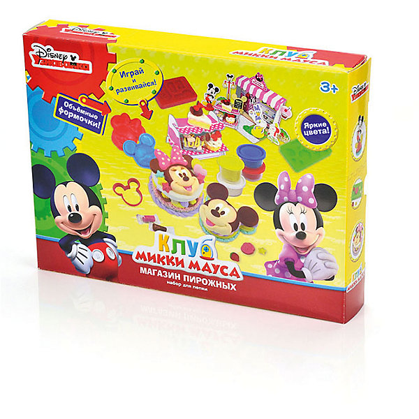 Набор для лепки Disney Клуб Микки Мауса Бургерная (масса для лепки - 6 цв)Наборы для лепки<br>Вместе с наборами Disney можно самостоятельно создавать разнообразные поделки!<br>В отличие от пластилина, масса для лепки Disney мягкая, очень пластичная и приятная на ощупь, поэтому ребёнку легко с ней работать. Она не прилипает к рукам и не оставляет жирных следов на одежде и мебели.<br>Масса нетоксична. Она имеет солёный вкус, что предостерегает ребёнка от желания съесть её.<br>Оригинальные и узнаваемые аксессуары Disney развивают воображение и творческое мышление малыша.<br>Ширина мм: 320; Глубина мм: 240; Высота мм: 50; Вес г: 690; Возраст от месяцев: 36; Возраст до месяцев: 72; Пол: Мужской; Возраст: Детский; SKU: 5515061;
