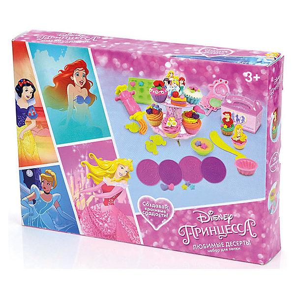 Набор для лепки Disney Принцесса Любимые десерты (масса для лепки - 5 цв., 3D формочки)Наборы для лепки<br>Вместе с наборами Disney можно самостоятельно создавать разнообразные поделки!<br>В отличие от пластилина, масса для лепки Disney мягкая, очень пластичная и приятная на ощупь, поэтому ребёнку легко с ней работать. Она не прилипает к рукам и не оставляет жирных следов на одежде и мебели.<br>Масса нетоксична. Она имеет солёный вкус, что предостерегает ребёнка от желания съесть её.<br>Оригинальные и узнаваемые аксессуары Disney развивают воображение и творческое мышление малыша.<br><br>Ширина мм: 320<br>Глубина мм: 240<br>Высота мм: 50<br>Вес г: 540<br>Возраст от месяцев: 36<br>Возраст до месяцев: 72<br>Пол: Женский<br>Возраст: Детский<br>SKU: 5515064
