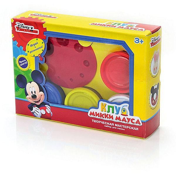 Набор для лепки Disney Клуб Микки Мауса Творческая мастерская (масса для лепки - 4 цв. по 50 г, аксесс)Наборы для лепки<br>Вместе с наборами Disney можно самостоятельно создавать разнообразные поделки!<br>В отличие от пластилина, масса для лепки Disney мягкая, очень пластичная и приятная на ощупь, поэтому ребёнку легко с ней работать. Она не прилипает к рукам и не оставляет жирных следов на одежде и мебели.<br>Масса нетоксична. Она имеет солёный вкус, что предостерегает ребёнка от желания съесть её.<br>Оригинальные и узнаваемые аксессуары Disney развивают воображение и творческое мышление малыша.<br><br>Ширина мм: 210<br>Глубина мм: 148<br>Высота мм: 50<br>Вес г: 350<br>Возраст от месяцев: 36<br>Возраст до месяцев: 72<br>Пол: Мужской<br>Возраст: Детский<br>SKU: 5515066