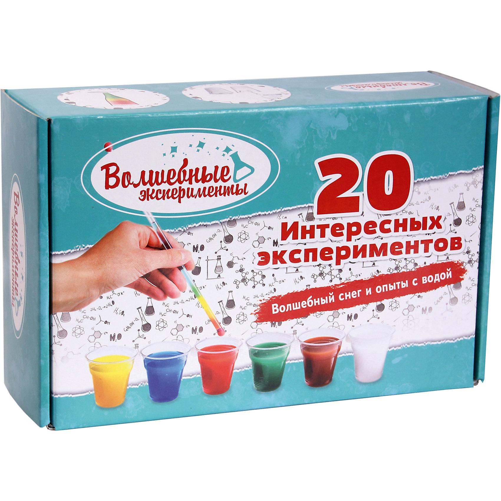 Большой набор Волшебный снег и 20 опытов с водойЭксперименты и опыты<br>Большой набор Волшебный снег и 20 опытов с водой.<br><br>Характеристики:<br><br>• Для детей в возрасте: от 14 лет<br>• В наборе: волшебный снег 10 пакетиков, краски 6 цветов, кисть, мерный стакан, мерная ложечка, прозрачная трубочка, пластиковая палочка для размешивания, пластиковый бокал, 7 стаканчиков по 100 мл, 3 пластиковых емкости для опытов, цветной буклет-инструкция<br>• Упаковка: цветная картонная коробка<br>• Размер упаковки: 30х20х10 см.<br>• Вес: 500 гр.<br>• Производство: Россия<br><br>В наборе «Волшебный снег и 20 опытов с водой» есть все необходимое для того, чтобы провести 20 интересных экспериментов. Создать волшебный снег, наблюдать, как он быстро увеличивается в объеме, а потом провести опыты с ним и узнать удивительные свойства полимера полиакрилат натрия, вещества способного впитать в себя воды в 300 раз больше собственного объема. А так же узнать какое свойство воды позволяет переворачивать надписи, как сделать радугу в стакане воды, а в бутылке – море, что нужно сделать, чтобы иголка не тонула в воде и многое другое. В комплекте имеется красочный буклет из 20 страниц с подробными инструкциями и интересными рассказами о свойствах снега и воды.<br><br>Большой набор Волшебный снег и 20 опытов с водой можно купить в нашем интернет-магазине.<br><br>Ширина мм: 320<br>Глубина мм: 200<br>Высота мм: 100<br>Вес г: 500<br>Возраст от месяцев: 168<br>Возраст до месяцев: 2147483647<br>Пол: Унисекс<br>Возраст: Детский<br>SKU: 5515564