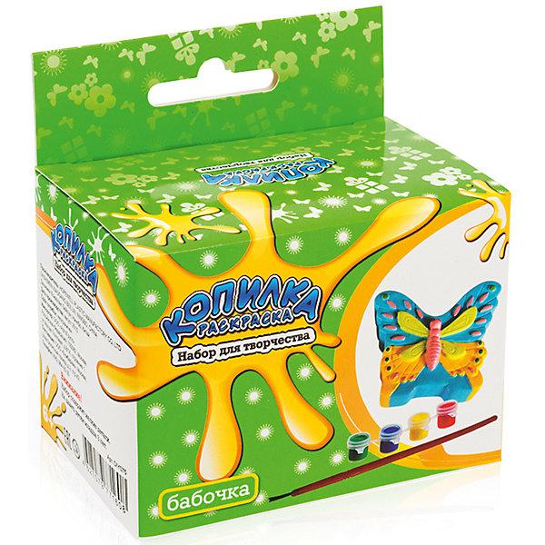 Копилка-раскраска БабочкаНаборы для раскрашивания<br>Копилка-раскраска Бабочка.<br><br>Характеристики:<br><br>• Для детей в возрасте: от 6 лет<br>• В комплекте: копилка для раскрашивания из пластика, акриловые краски 4 цветов (зеленый, синий, красный, желтый), кисточка<br>• Инструкция на упаковке на русском языке<br>• Размер копилки: 8 х 6,5 см.<br>• Упаковка: цветная картонная коробка с европодвесом<br>• Размер упаковки: 10,5 x 10 x 6,5 см.<br>• Вес: 120 гр.<br><br>Копилка хорошо детализирована. Чтобы аккуратно ее раскрасить, понадобится приложить немало усилий, но это стоит того. Таблица смешения цветов, предложенная на упаковке, поможет определиться с выбором цветовой гаммы. Когда краска высохнет, ребенок будет рад использовать свой шедевр и учиться обращаться с деньгами. В верхней части копилки имеется прорезь для монет, а в нижней – отверстие, закрытое крышкой, через которое монетки легко можно достать в любой момент.<br><br>Копилку-раскраску Бабочка можно купить в нашем интернет-магазине.<br><br>Ширина мм: 100<br>Глубина мм: 105<br>Высота мм: 600<br>Вес г: 120<br>Возраст от месяцев: 72<br>Возраст до месяцев: 2147483647<br>Пол: Женский<br>Возраст: Детский<br>SKU: 5515566