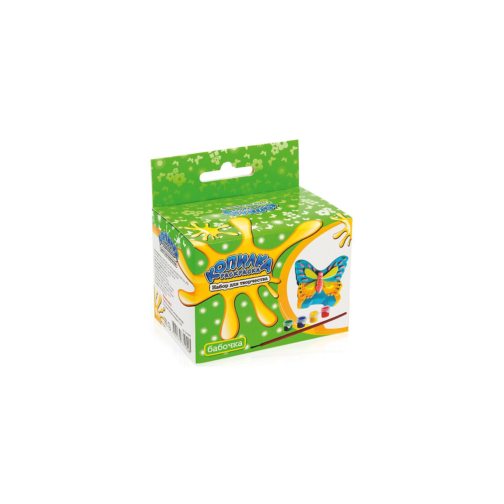 Копилка-раскраска БабочкаРисование<br>Копилка-раскраска Бабочка.<br><br>Характеристики:<br><br>• Для детей в возрасте: от 6 лет<br>• В комплекте: копилка для раскрашивания из пластика, акриловые краски 4 цветов (зеленый, синий, красный, желтый), кисточка<br>• Инструкция на упаковке на русском языке<br>• Размер копилки: 8 х 6,5 см.<br>• Упаковка: цветная картонная коробка с европодвесом<br>• Размер упаковки: 10,5 x 10 x 6,5 см.<br>• Вес: 120 гр.<br><br>Копилка хорошо детализирована. Чтобы аккуратно ее раскрасить, понадобится приложить немало усилий, но это стоит того. Таблица смешения цветов, предложенная на упаковке, поможет определиться с выбором цветовой гаммы. Когда краска высохнет, ребенок будет рад использовать свой шедевр и учиться обращаться с деньгами. В верхней части копилки имеется прорезь для монет, а в нижней – отверстие, закрытое крышкой, через которое монетки легко можно достать в любой момент.<br><br>Копилку-раскраску Бабочка можно купить в нашем интернет-магазине.<br><br>Ширина мм: 100<br>Глубина мм: 105<br>Высота мм: 600<br>Вес г: 120<br>Возраст от месяцев: 72<br>Возраст до месяцев: 2147483647<br>Пол: Женский<br>Возраст: Детский<br>SKU: 5515566