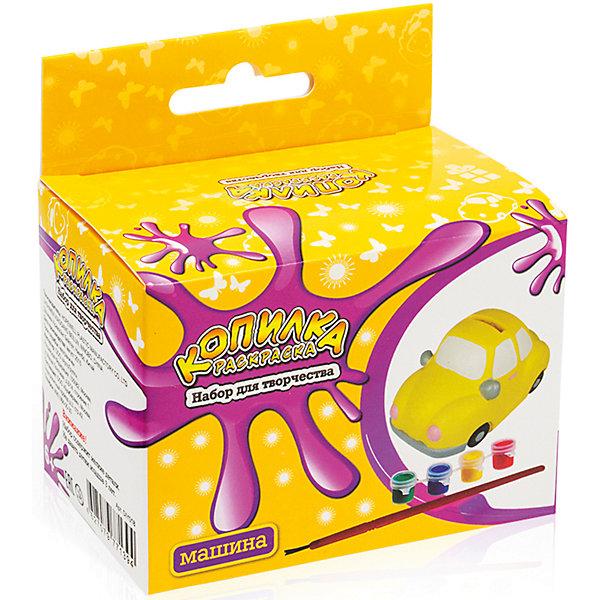 Копилка-раскраска МашинкаНаборы для раскрашивания<br>Копилка-раскраска Машинка.<br><br>Характеристики:<br><br>• Для детей в возрасте: от 6 лет<br>• В комплекте: копилка для раскрашивания из пластика, акриловые краски 4 цветов (зеленый, синий, красный, желтый), кисточка<br>• Инструкция на упаковке на русском языке<br>• Упаковка: цветная картонная коробка с европодвесом<br>• Размер упаковки: 10,5 x 10 x 6,5 см.<br>• Вес: 120 гр.<br><br>Копилка хорошо детализирована. Чтобы аккуратно ее раскрасить, понадобится приложить немало усилий, но это стоит того. Таблица смешения цветов, предложенная на упаковке, поможет определиться с выбором цветовой гаммы. Когда краска высохнет, ребенок будет рад использовать свой шедевр и учиться обращаться с деньгами. В верхней части копилки имеется прорезь для монет, а в нижней – отверстие, закрытое крышкой, через которое монетки легко можно достать в любой момент.<br><br>Копилку-раскраску Машинка можно купить в нашем интернет-магазине.<br><br>Ширина мм: 100<br>Глубина мм: 105<br>Высота мм: 600<br>Вес г: 120<br>Возраст от месяцев: 72<br>Возраст до месяцев: 2147483647<br>Пол: Мужской<br>Возраст: Детский<br>SKU: 5515569