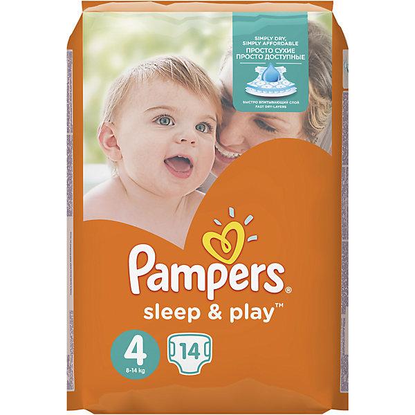 Подгузники Pampers Sleep &amp; Play Maxi, 8-14 кг, 4 размер, 14 шт., PampersПодгузники классические<br>Характеристики:<br><br>• пол: универсальный;<br>• тип подгузника: одноразовый;<br>• коллекция: Sleep&amp;Play;<br>• предназначение: для использования в любое время суток;<br>• размер: 4;<br>• вес ребенка: от 8 до 14 кг;<br>• количество в упаковке: 14 шт.;<br>• размер упаковки: 21х13х11 см;<br>• вес в упаковке: 375 г;<br>• двойные боковые застежки-манжеты;<br>• подходят для чувствительной кожи;<br>• супервпитывающий слой Super Dry;<br>• до 9 часов сна;<br>• дышащие материалы;<br>• экстракт ромашки;<br>• повышенные впитывающие свойства.<br><br>Подгузники Pampers Sleep &amp; Play Maxi, 8-14 кг, 4 размер, 14 шт., Pampers можно купить в нашем интернет-магазине.<br><br>Ширина мм: 136<br>Глубина мм: 116<br>Высота мм: 198<br>Вес г: 326<br>Возраст от месяцев: 12<br>Возраст до месяцев: 24<br>Пол: Унисекс<br>Возраст: Детский<br>SKU: 5516306