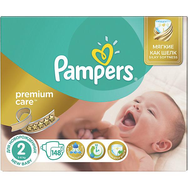 Подгузники Pampers Premium Care, New baby,3-6 кг, 2 размер, Mega pack, 148 шт., PampersПодгузники классические<br>Характеристики:<br><br>• пол: универсальный;<br>• тип подгузника: одноразовый;<br>• коллекция: Premium Care;<br>• предназначение: для использования в любое время суток;<br>• размер: 2;<br>• вес ребенка: от 3 до 6 кг;<br>• количество в упаковке: 148 шт.;<br>• размер упаковки: 37х23х31 см;<br>• вес в упаковке: 3,6 кг;<br>• эластичные застежки-липучки;<br>• подходят для чувствительной кожи;<br>• индикатор влаги: полоска изменяет свой цвет по мере наполнения подгузника;<br>• три впитывающих слоя;<br>• дышащие материалы;<br>• повышенные впитывающие свойства.<br><br>Подгузники Pampers Premium Care, New baby, 3-6 кг, 2 размер, Mega pack, 148 шт., Pampers можно купить в нашем интернет-магазине.<br>Ширина мм: 372; Глубина мм: 231; Высота мм: 311; Вес г: 357; Возраст от месяцев: 0; Возраст до месяцев: 3; Пол: Унисекс; Возраст: Детский; SKU: 5516310;