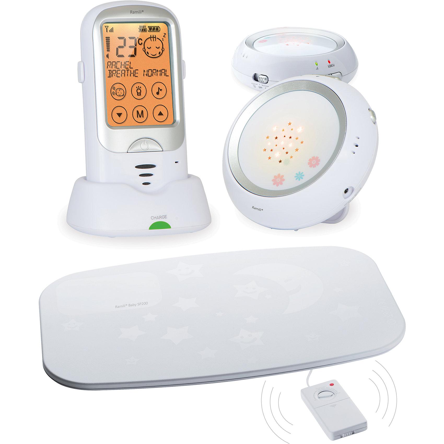 Радионяня Baby RA300DuoSP, RamiliДетская бытовая техника<br>Радионяня Baby RA300DuoSP, Ramili (Рамили)<br><br>Характеристики:<br><br>• двухсторонняя связь<br>• монитор дыхания в комплекте<br>• сенсорный экран<br>• проектор<br>• термометр<br>• таймер кормления<br>• индикатор заряда<br>• дальность действия: до 650 метров<br>• автоматическое включение<br>• защита от случайного нажатия<br>• экран: 7,3 см<br>• размер упаковки: 18х16х7 см<br>• вес: 902 грамма<br><br>Радионяня Baby RA300DuoSP поможет вам чувствовать себя спокойно, когда вы не можете находиться рядом с малышом. Двухсторонняя связь позволяет не только слышать малыша, но и общаться с ним. Вы сможете спеть любимую песенку крохи или успокоить его ласковым голосом. <br><br>Для вашего удобства радионяня оснащена таймером кормления, термометром и индикатором заряда. Вы всегда будете знать температуру в комнате ребенка, сможете вовремя его покормить, а индикатор заряда напомнит о необходимости подзарядки. При обнаружении плача радионяня автоматически включается и подает сигал на родительский блок. <br><br>В комплект входит монитор дыхания. Он представляет собой коврик, следящий за дыханием ребенка во время сна. Коврик располагается под матрасом кроватки. Встроенный ночник с проекцией звездного неба поможет малышу расслабиться и успокоиться перед сном.  Радионяня имеет удобный сенсорный экран с защитой от случайного нажатия. Вы сможете подключить до 4-х детских блоков одновременно. Дальность действия - до 650 метров.<br><br>Радионяню Baby RA300DuoSP, Ramili (Рамили) вы можете купить в нашем интернет-магазине.<br><br>Ширина мм: 70<br>Глубина мм: 160<br>Высота мм: 180<br>Вес г: 902<br>Возраст от месяцев: 0<br>Возраст до месяцев: 1188<br>Пол: Унисекс<br>Возраст: Детский<br>SKU: 5516689