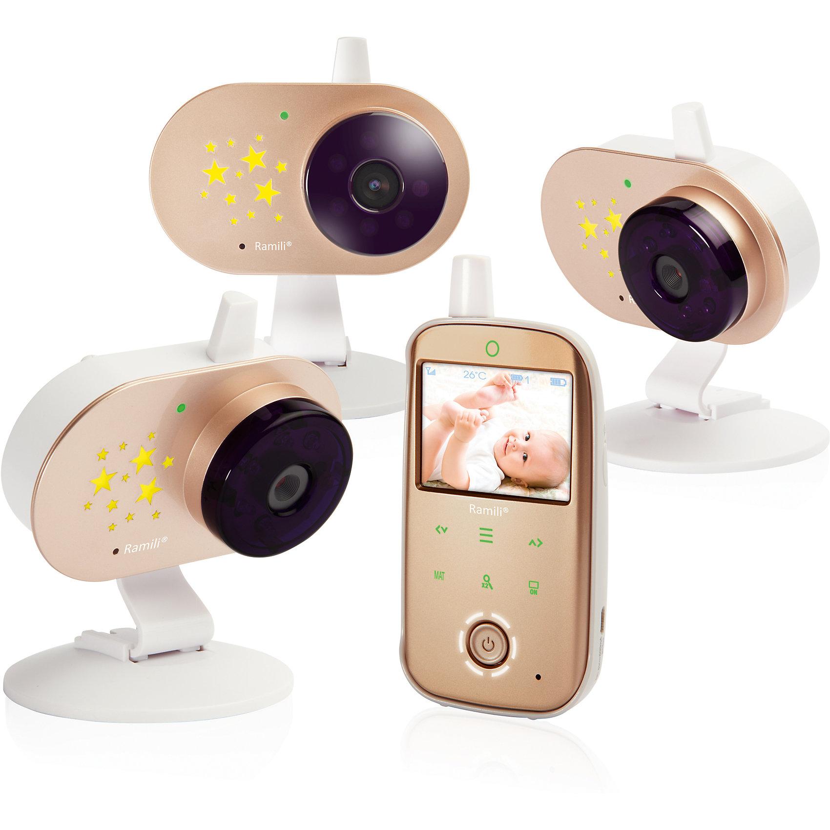 Видеоняня Ramil Baby RV1200X3Детская бытовая техника<br>Видеоняня Baby RV1200X3, Ramili (Рамили)<br><br>• стабильная передача данных<br>• изображение без помех<br>• двухсторонний режим<br>• термометр <br>• цифровой зум<br>• встроенный проектор звездного неба<br>• функция ночного видения<br>• индикатор заряда<br>• оповещение о выходе из зоны покрытия<br>• кнопки с подсветкой<br>• возможно подключение монитора дыхания и дополнительных камер<br>• дальность действия - 300 метров<br>• количество камер: 3<br>• диагональ экрана: 6,1 см<br>• размер упаковки: 12х54х40 см<br>• вес: 900 грамм<br><br>Видеоняня Baby RV1200X3 - настоящий помощник родителей в вопросах безопасности малыша. В комплект входят три видеокамеры и родительский блок с монитором. При необходимости вы можете подключить дополнительные камеры и монитор дыхания. Комплект оснащен функцией двухсторонней связи, благодаря чему, вы сможете общаться с малышом и успокаивать его. <br><br>Встроенный термометр оповестит вас о повышении или понижении температуры в детской комнате. Встроенный проектор выключается автоматически при обнаружении плача. Малыш сможет наслаждаться видом звездного неба, пока ждет родителей. <br><br>Родительский блок оснащен индикатором заряда и сигналом, оповещающим о выходе из зоны покрытия. Современная модель видеоняни гарантирует стабильную передачу данных, изображение без помех. В ночное время функция ночного видения включается автоматически. Дальность действия - 300 метров. <br><br>Видеоняню Baby RV1200X3, Ramili (Рамили) можно купить в нашем интернет-магазине.<br><br>Ширина мм: 120<br>Глубина мм: 540<br>Высота мм: 400<br>Вес г: 900<br>Возраст от месяцев: 0<br>Возраст до месяцев: 1188<br>Пол: Унисекс<br>Возраст: Детский<br>SKU: 5516695