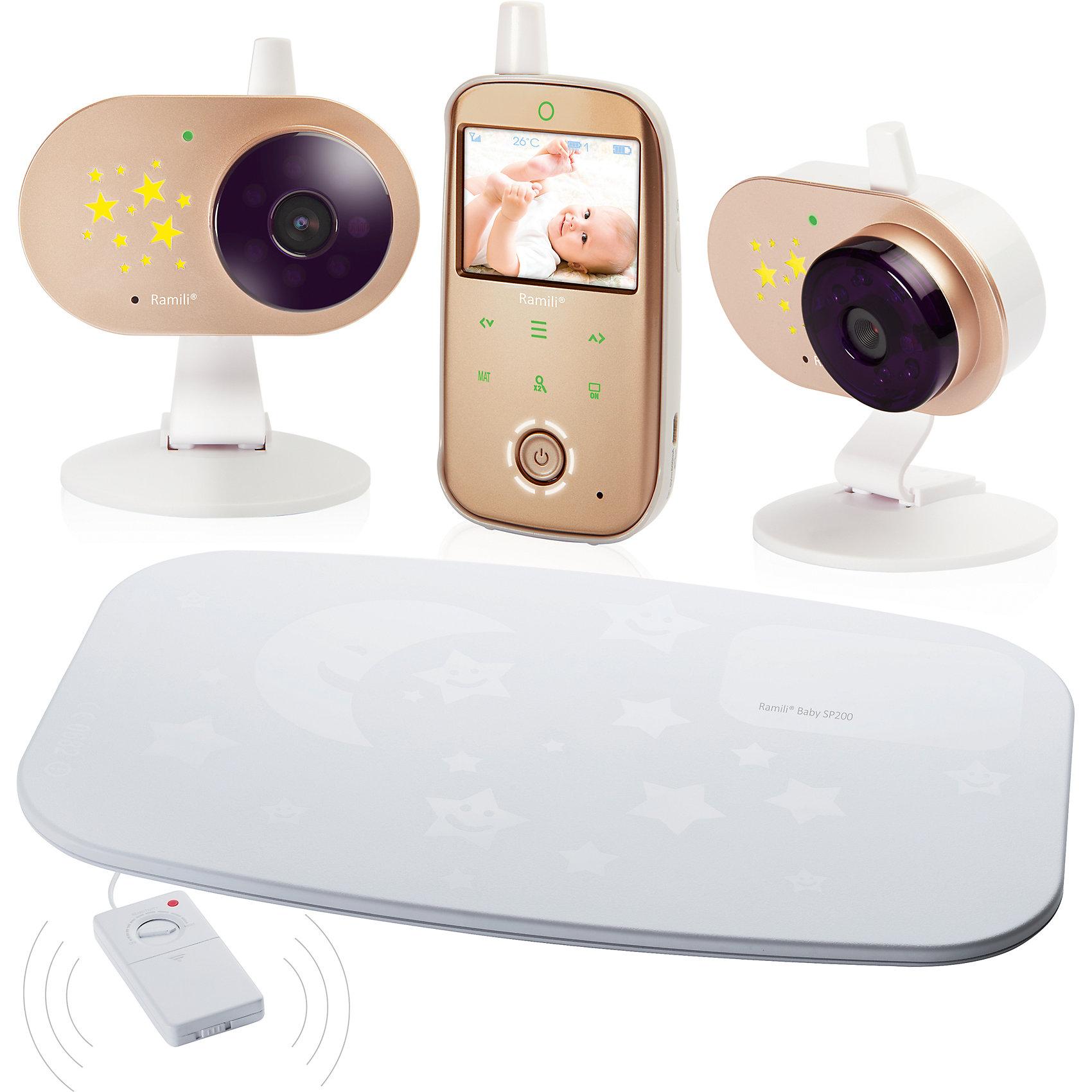 Видеоняня Ramili Baby RV1200SP с монитором дыханияДетская бытовая техника<br>Видеоняня с монитором дыхания Baby RV1200SP, Ramili  (Рамили)<br><br>Характеристики:<br><br>• монитор дыхания в комплекте<br>• индикатор громкости плача<br>• стабильная передача данных<br>• изображение без помех<br>• двухсторонний режим<br>• термометр <br>• цифровой зум<br>• встроенный проектор звездного неба<br>• функция ночного видения<br>• индикатор заряда<br>• оповещение о выходе из зоны покрытия<br>• удобная подставка для родительского блока<br>• кнопки с подсветкой<br>• возможно подключение монитора дыхания и дополнительных камер<br>• дальность действия - 300 метров<br>• количество камер: 1<br>• диагональ экрана: 6,1 см<br>• размер упаковки: 45х26х2 см<br>• вес: 1200 грамм<br><br>Baby RV1200SP - видеоняня с подключенным монитором дыхания. Комплект состоит из одной камеры, монитора дыхания и родительского блока. Датчик реагирует на плач и движения малыша и передает сигнал на родительский блок. Современная модель устройства позволяет обеспечивать стабильную передачу данных и качественное изображение без помех. <br><br>Есть возможность увеличения изображения. Двухсторонний режим позволит вам общаться с малышом. Встроенный режим ночного видения включается автоматически при наступлении темноты. Видеоняня оснащена встроенным термометром, индикатором заряда и оповещением о выходе из зоны покрытия. Термометр оповестит вас об изменении температуры в детской комнате. <br><br>Встроенный ночник автоматически включает проекцию звездного неба при обнаружении детского плача. Высокочувствительные датчики монитора дыхания улавливают дыхание и движение крохи. В случае отсутствия дыхания в течение 20 секунд, датчик передает сигнал на родительский блок. Возможно подключение дополнительных камер и мониторов дыхания при необходимости. <br><br>Видеоняню с монитором дыхания Baby RV1200SP, Ramili (Рамили)  вы можете купить в нашем интернет-магазине.<br><br>Ширина мм: 200<br>Глубина мм: 450<br>Высота мм: 260<b