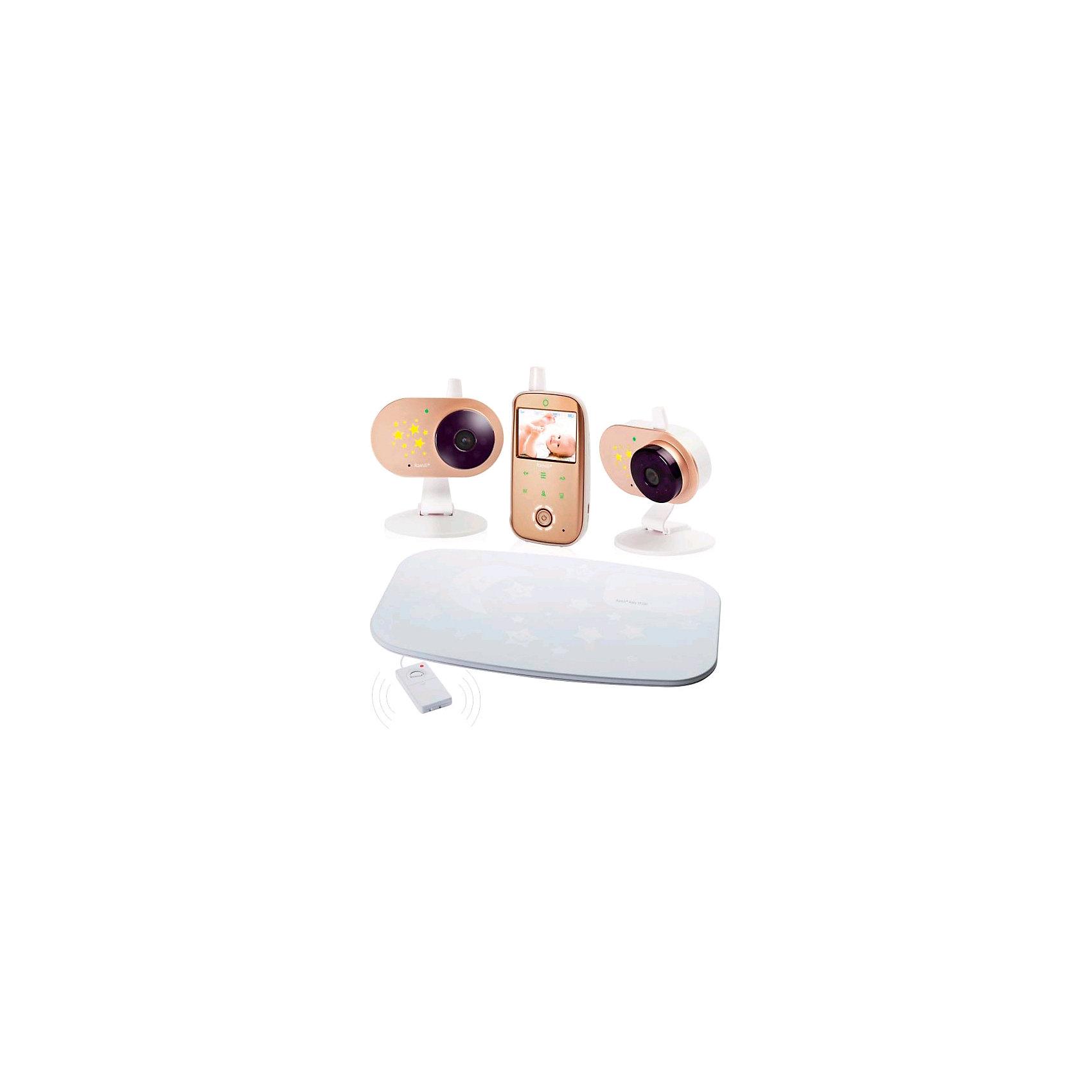 Видеоняня с двумя камерами и монитором дыхания Baby RV1200X2SP, RamiliДетская бытовая техника<br>В комплекте устройства две камеры, оснащённые встроенными аккумуляторами, видеоняня Ramili® Baby RV1200 и монитор дыхания Ramili® Movement Sensor Pad SP200. Видеоняня от английского производителя детских товаров, к которой можно подключить монитор дыхания Ramili Sensor Pad.  Дальность приёма составляет 300 метров.<br>Монитор дыхания Ramili® Movement Sensor Pad SP200 (входит в комплект) представляет из себя коврик, который располагается под матрасиком в детской кроватке.Работает от обычных батареек (до 7 дней, непрерывно) и оснащен блоком регулировки чувствительности.<br>Дальность приёма 300 метров.<br>Диагональ дисплея 6,1 см (2,4 дюйма).<br>Автоматическое ночное видение.<br>Ночник со звёздочками на детском блоке.<br>Стабильная, защищённая цифровая связь.<br>Качественное изображение и звук. Система подавления помех связи.<br>Аккумулятор в родительском и детском блоках.<br>Индикаторы уровня заряда каждого блока отображаются на экране.<br>Оповещение о низком заряде.<br>Динамическая система сохранения энергии (мощность передачи регулируется автоматически, зависит от расстояния между блоками).<br>Оповещение о выходе их зоны приёма.<br>Специальная конструкция крепления камеры для удобного размещения на бортике кроватки или манежа, а также на козырьке детской коляски.<br>Двухсторонняя связь.<br>Термометр в детском блоке для измерения температуры воздуха в детской. Значение отображается на экране родительского блока.<br>Оповещение о выходе температуры за пределы заданного диапазона.<br>Индикатор громкости плача (удобно при выключенном звуке).<br>Возможность подключения до 4-х камер.<br>Система активации видеоняни при обнаружении плача (VOX).<br>Непрерывный мониторинг.<br>Функция приближения изображения (цифровой зум).<br>Для доступа к функциям на лицевой панели родительского блока видеоняни удобно расположены кнопки с подсветкой, управляемые прикосновением.<br>Родительский блок