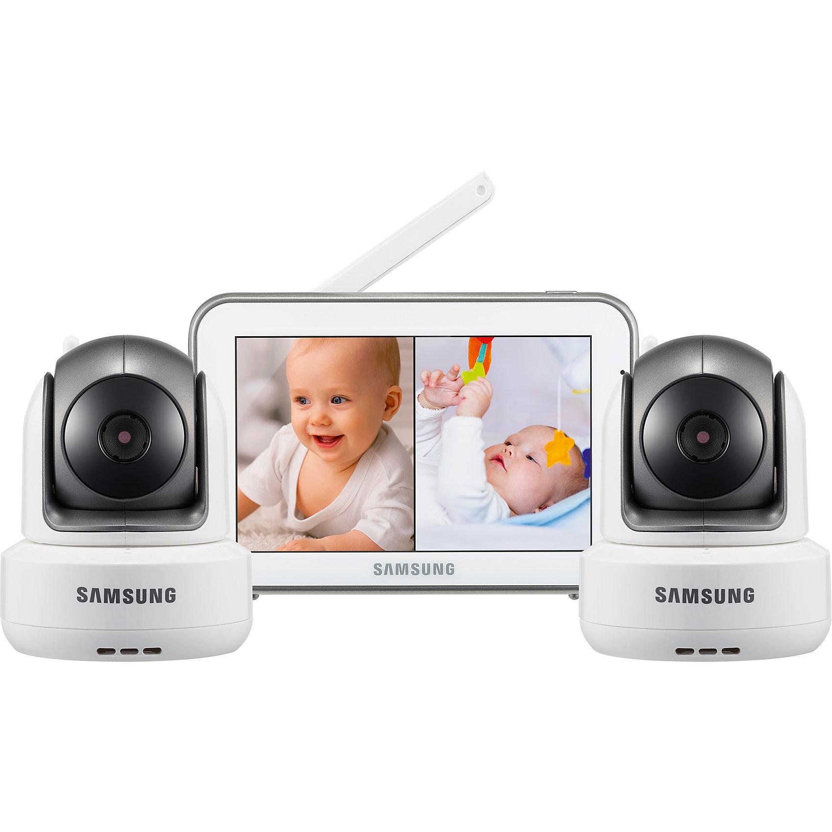 Видеоняня SEW-3043WPX2, SamsungВ комплекте видеоняни 2 камеры. <br>Дальность приёма до 300 метров.<br>Диагональ дисплея 12,7 см (5 дюймов).<br>Изображение камеры высокого качества HD 720p (разрешение 1280 x 720, эффективные пиксели H: 1280 / V: 1024).<br>Высокое качество изображения на мониторе, разрешение 800 х 480 пикселей.<br>Сенсорный дисплей, управление с помощью прикосновения к экрану.<br>Поворот камеры: 300o по горизонтали 110o по вертикали, чем обеспечивается полный обзор комнаты.<br>Угол обзора камеры в пассивном положении 55o (обычно этого достаточно, чтобы охватить больше половины детской комнаты, зависит от места расположения).<br>Двухсторонняя связь позволяет успокоить кроху на расстоянии, если он расплакался.<br>Высокое качество звука.<br>Ночник на детском блоке, управляемый с родительского блока.<br>Режим ночного видения включается автоматически при недостаточном освещении.<br>Инфракрасная подсветка не видна в темноте, поэтому не мешает ребёнку.<br>Колыбельные мелодии в памяти устройства, удалённое управление.<br>Автоматическая активация при плаче (режим VOX для сохранения заряда аккумулятора) или постоянно включённый дисплей.<br>Функция приближения (цифровой зум).<br>Таймер кормления с оповещением.<br>Индикация уровня заряда аккумулятора.<br>Время работы родительского блока видеоняни от батареи от 4 часов (зависит от интенсивности использования).<br>Регулировка громкости звука.<br>Индикатор уровня связи.<br>Возможность крепления камеры на стене (винты в комплекте).<br>Возможность подключения до 4-х камер с функцией разделения дисплея для просмотра всех подключенных камер одновременно на одном экране. Это означает, что вы можете наблюдать разные зоны вашего дома одновременно на дисплее.<br>Режим сканирования камер (изображение выводится с каждой камеры по очереди с промежутком в несколько секунд).<br>Родительский блок оснащён клипсой для крепления на поясе и подставкой для вертикального расположения. <br><br>.<br><br>Ширина мм: 80<br>Глубина мм: 300<b
