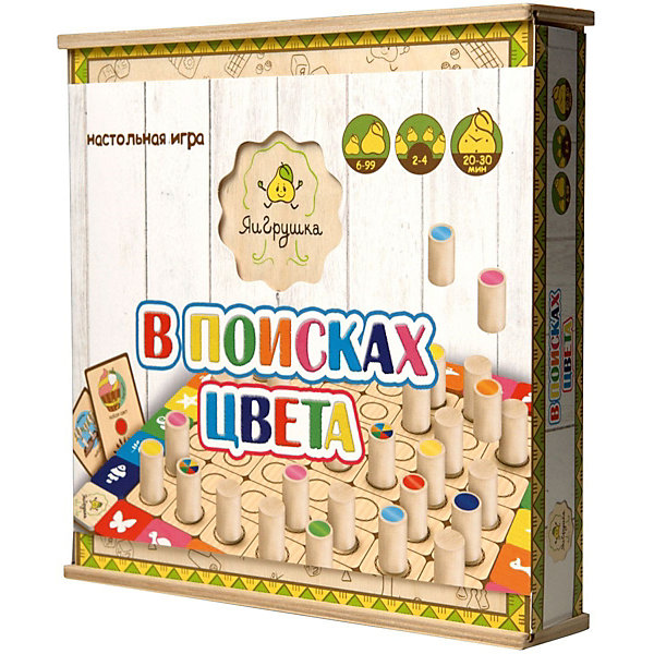 Настольная игра ЯиГрушка В поисках цветаНастольные игры для всей семьи<br>Характеристики товара:<br><br>• возраст: от 5 лет<br>• материал: дерево, картон<br>• количество игроков: от 2 до 4<br>• в комплекте: игровое поле, 49 фишек, 24 карточки, мешочек, правила игры<br>• размер упаковки 24,5х24,5х5 см<br>• вес упаковки 700 г.<br>• страна бренда: Россия<br>• страна производитель: Россия<br><br>Настольная игра «В поисках цвета» ЯиГрушка — увлекательная игра для компании до 4 человек. На игровом поле размещены изображения животных разных цветов и отсеки для фишек. Каждый игрок получает свою карточку. Его задача заполнить ее быстрее всех необходимым цветом, выполняя задания. <br><br>Игра тренирует память, смекалку, внимательность, логическое мышление.<br><br>Настольную игру «В поисках цвета» ЯиГрушка можно приобрести в нашем интернет-магазине.<br>Ширина мм: 240; Глубина мм: 50; Высота мм: 245; Вес г: 700; Возраст от месяцев: 36; Возраст до месяцев: 2147483647; Пол: Унисекс; Возраст: Детский; SKU: 5516707;