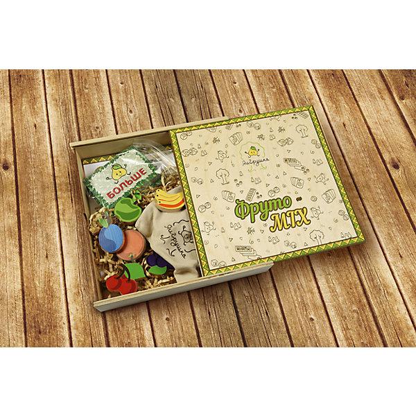 Настольная игра ЯиГрушка Фруто-MIXНастольные игры для всей семьи<br>Характеристики товара:<br><br>• возраст: от 5 лет<br>• материал: дерево, картон<br>• количество игроков: от 2 до 4<br>• время одной игры: 15-20 минут<br>• в наборе: 6 фигур фруктов, 60 игровых карт, карта «больше-меньше», мешочек, правила игры<br>• размер упаковки 24,5х24,5х5 см<br>• вес упаковки 700 г.<br>• страна бренда: Россия<br>• страна производитель: Россия<br><br>Настольная игра «Фруто-MIX» ЯиГрушка подойдет для компании до 4 человек. На поверхности ракладываются карточки и фишки с изображениями фруктов. Открывается первая карточка, и задача каждого игрока выполнить одно из возможных действий: забрать себе фишку с тем фруктом, который изображен на карточке в большем количестве либо в наименьшем количестве. Если же попадается карта «больше-меньше», то игроки выбирают один из вариантов.<br><br>Побеждает самый внимательный и ловкий участник. Игра тренирует смекалку, внимательность, ловкость, скорость реакции, способствует развитию навыков счета.<br><br>Настольную игру «Фруто-MIX» ЯиГрушка можно приобрести в нашем интернет-магазине.<br>Ширина мм: 240; Глубина мм: 50; Высота мм: 245; Вес г: 700; Возраст от месяцев: 60; Возраст до месяцев: 2147483647; Пол: Унисекс; Возраст: Детский; SKU: 5516710;