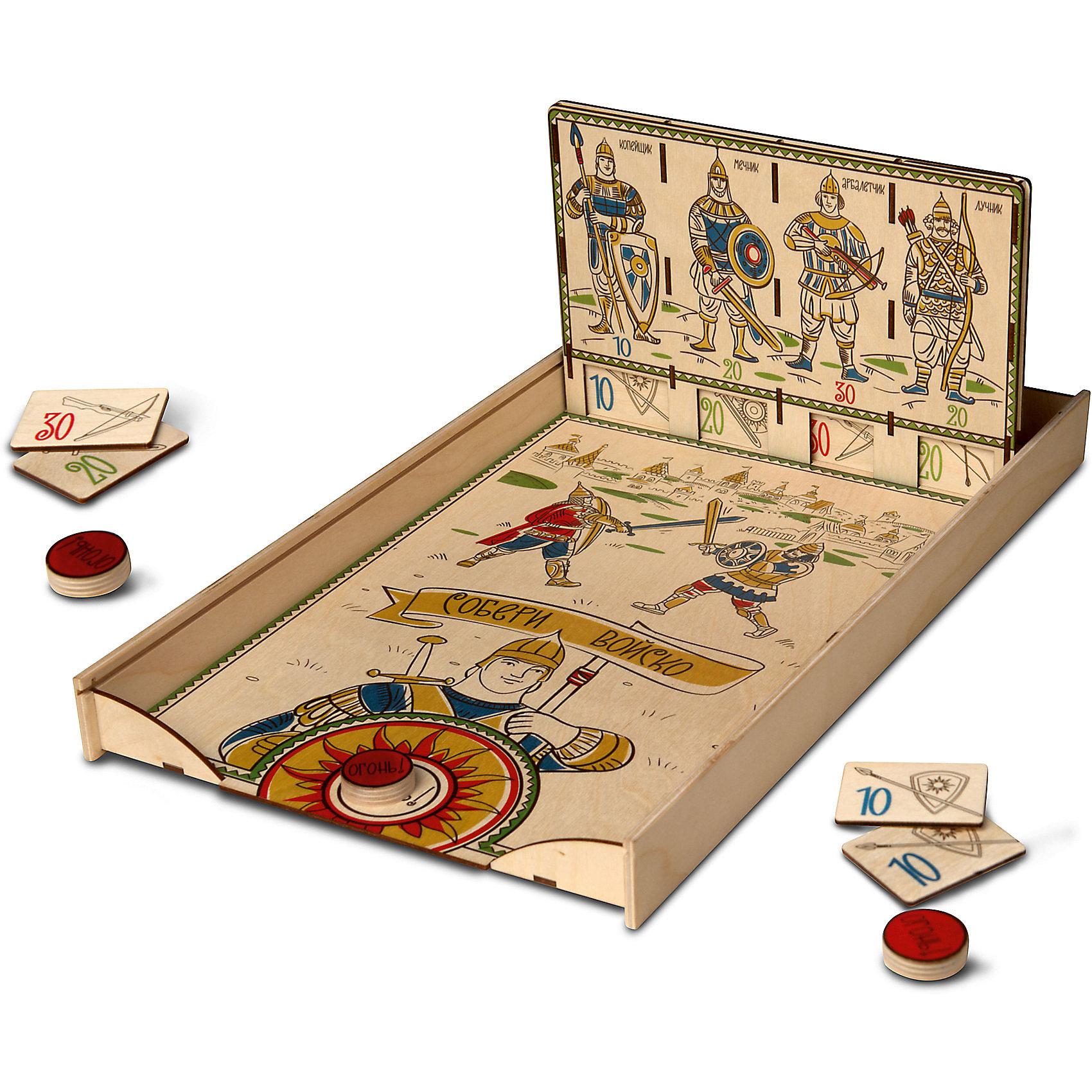 Настольный игра-тир ЯиГрушка Собери войскоНастольные игры<br>Характеристики товара:<br><br>• возраст: от 3 лет<br>• материал: дерево, картон<br>• количество игроков: от 1 до 4<br>• время одной игры: 20-30 минут<br>• в комплекте: игровое поле с крышкой, стенд стрелковый, 16 карточек бойцов, 4 биты<br>• размер упаковки 46х26х5 см<br>• вес упаковки 857 г.<br>• страна бренда: Россия<br>• страна производитель: Россия<br><br>Настольный тир «Собери войско» ЯиГрушка — занимательная игра для детей, которые в процессе игры будут возглавлять настоящее войско. Цель для каждого игрока — собрать как можно больше карточек с бойцами. Для этого нужно выполнять определенные задания, набирать очки и проявить смекалку, ловкость и меткость.<br><br>Настольный тир «Собери войско» ЯиГрушка можно приобрести в нашем интернет-магазине.<br><br>Ширина мм: 470<br>Глубина мм: 40<br>Высота мм: 270<br>Вес г: 857<br>Возраст от месяцев: 36<br>Возраст до месяцев: 2147483647<br>Пол: Мужской<br>Возраст: Детский<br>SKU: 5516713