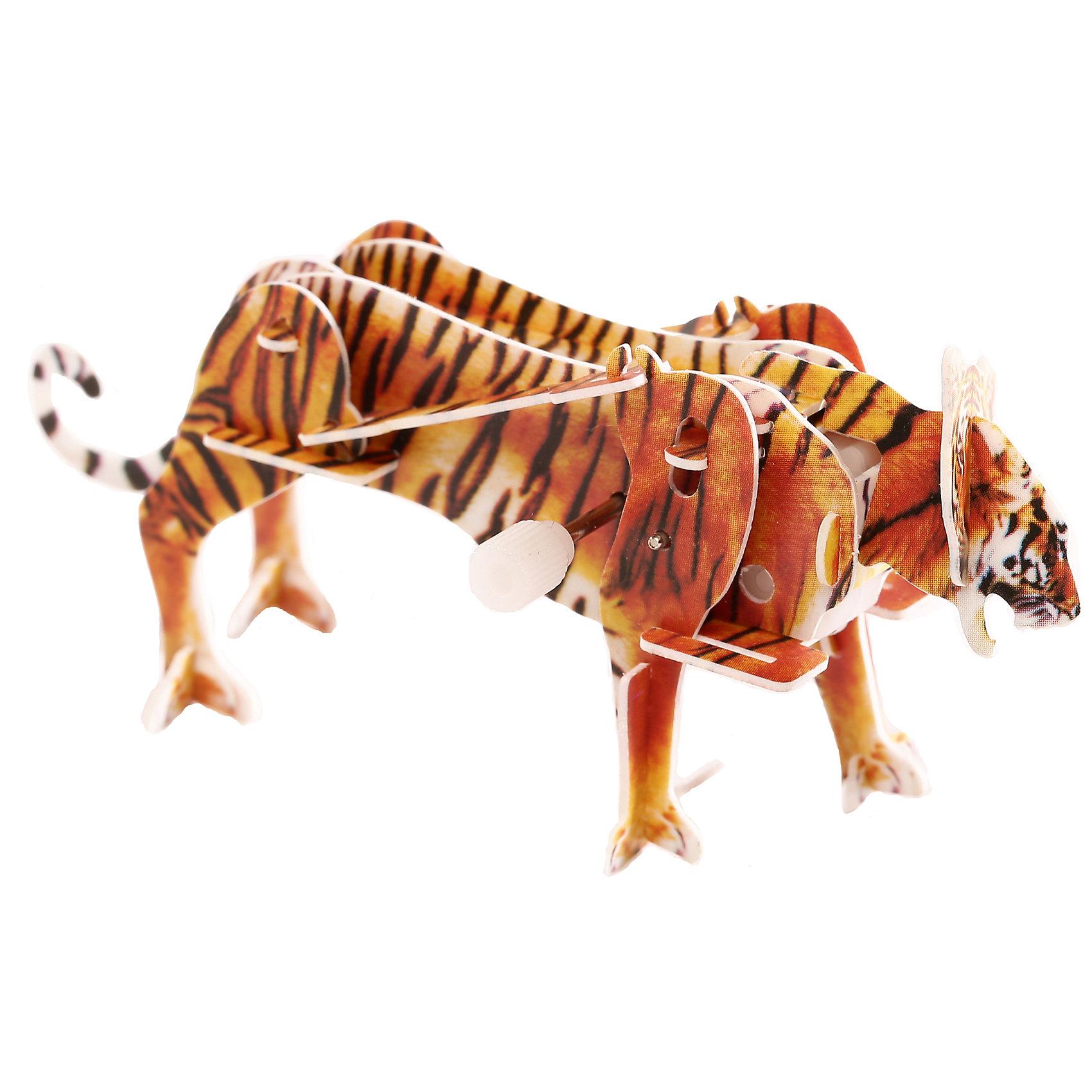 Конструктор – 3D пазл заводной: Тигр, UFПластмассовые конструкторы<br>Пазл «Тигр» собирается из пластиковых деталей. Их нужно просто выдавить из специальных листов, а потом собрать вместе в виде единого пазла (не используя клей). Среди деталей имеется небольшой заводной механизм. Он соединяется с деталями пазла и приводит его в движение. В итоге у ребенка получится необычная фигурка тигра, которая способна двигаться, пока не кончится заряд. Сборка пазла тренирует моторику и пространственное мышление.<br><br>Ширина мм: 135<br>Глубина мм: 100<br>Высота мм: 25<br>Вес г: 47<br>Возраст от месяцев: 72<br>Возраст до месяцев: 1188<br>Пол: Унисекс<br>Возраст: Детский<br>SKU: 5516762