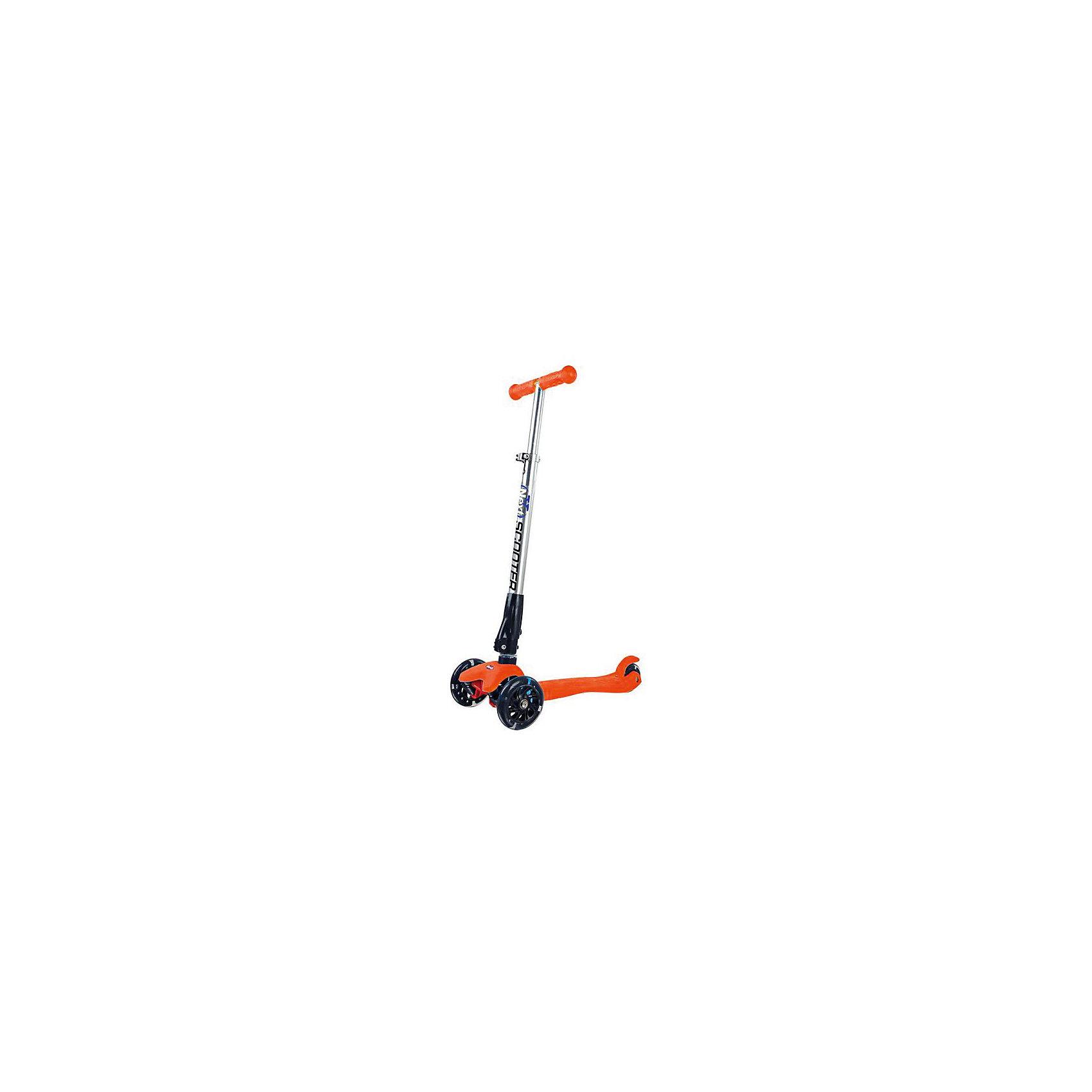 Трехколесный самокат, со светящимися колесами, оранжевый, NEXTСамокаты<br>Самокат NEXT 3-колесный складной, два колеса впереди (свет)- высококачественные полиуретановые (pu) колеса: светящиеся передние 2 колеса диаметорм 120 мм , светящееся заднее 1 колесо диаметром 80, - усиленная платформа с насечками против скольжения,- материалы: алюминий, нейлон, полипропилен,- металлический механизм складывания,- руль регулируется по высоте (3 положения: 63-86 см),- высокоточный подшипник,- габариты 56 х 24 х 63-86 см- безопасный задний тормоз,- удобные резиновые рукоятки,- максимальная нагрузка - до 50 кг. Цвет - оранжевый<br><br>Ширина мм: 550<br>Глубина мм: 800<br>Высота мм: 230<br>Вес г: 2830<br>Цвет: оранжевый<br>Возраст от месяцев: 36<br>Возраст до месяцев: 120<br>Пол: Женский<br>Возраст: Детский<br>SKU: 5517175
