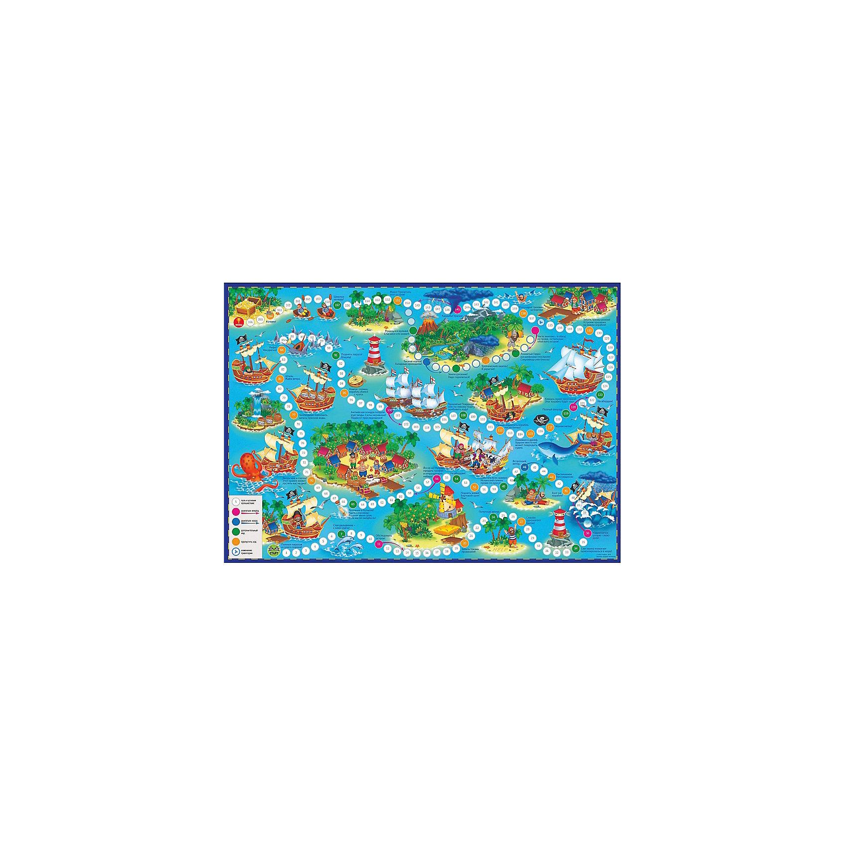 Игра-ходилка с фишками В поисках сокровищ. ПиратыНастольные игры<br>Характеристики товара:<br><br>• возраст от 6 лет;<br>• материал: картон;<br>• количество игроков: от 2 до 4<br>• время одной игры: от 20 минут<br>• в комплекте: игровое поле, 4 фишки, кубик;<br>• размер игрового поля 59х42 см;<br>• размер упаковки 31х23х2 см;<br>• страна производитель: Россия.<br><br>Игра-ходилка «В поисках сокровищ. Пираты» ГеоДом — классическая игра ходилка для детей, в которой они отправятся на поиски загадочных сокровищ. Бросая кубик, надо продвигаться вперед к заветной цели. А на пути их ждут опасные сражения, глубокие океаны, необитаемые острова. Кто первым найдет сокровища, тот и выиграл.<br><br>Игру-ходилку «В поисках сокровищ. Пираты» ГеоДом можно приобрести в нашем интернет-магазине.<br><br>Ширина мм: 595<br>Глубина мм: 420<br>Высота мм: 50<br>Вес г: 83<br>Возраст от месяцев: 36<br>Возраст до месяцев: 2147483647<br>Пол: Унисекс<br>Возраст: Детский<br>SKU: 5518168
