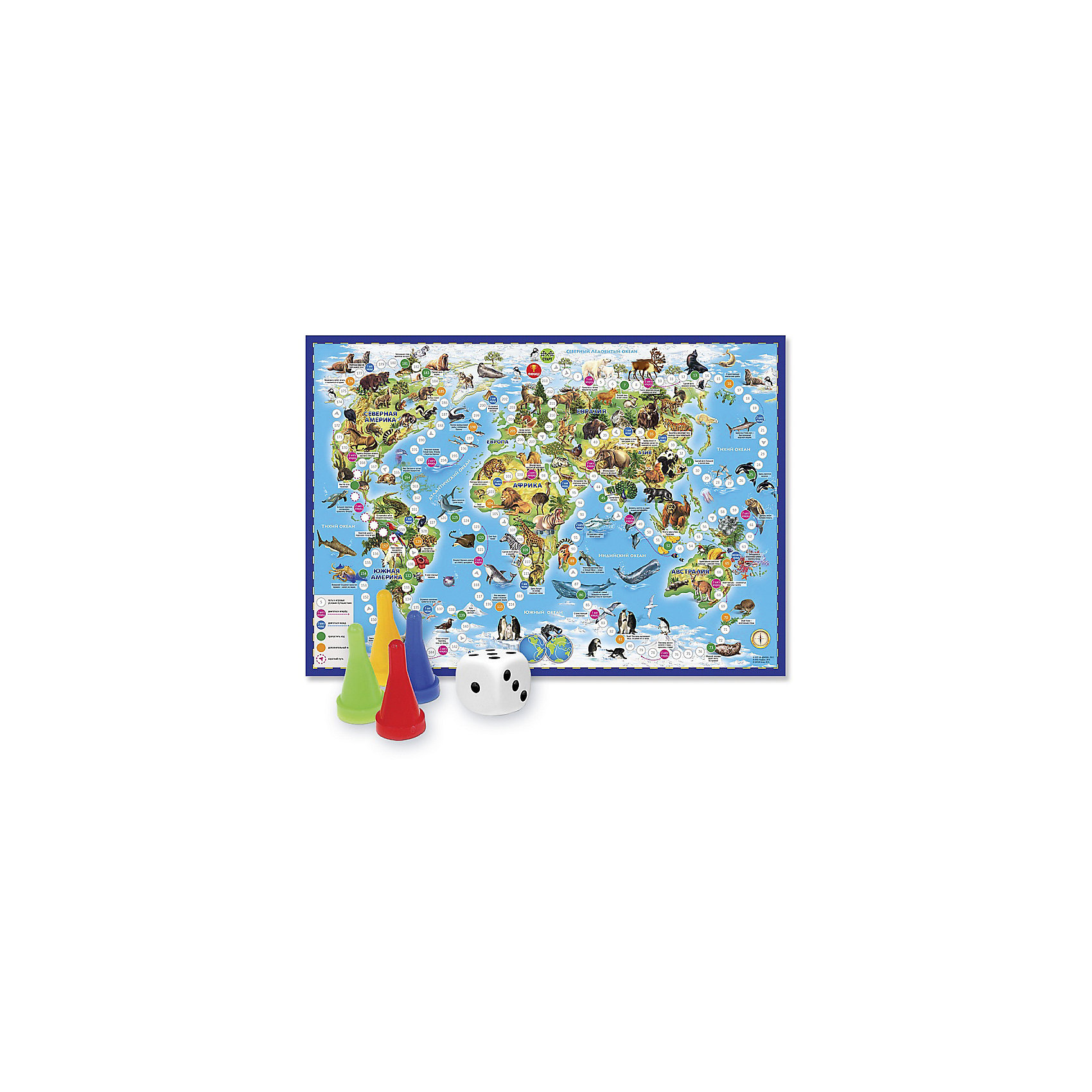 Игра-ходилка с фишками Животный мир ЗемлиИгра-ходилка  разработана для игры всей семьёй или группой детей. В ней могут участвовать от 2 до 4 игроков. Эта полезная развивающая игра поможет заботливым родителям расширить знания детей об окружающем  мире, познакомить их с картой мира и  животным миром нашей планеты, потренировать зрительную память и научить счёту самых маленьких игроков.<br><br>Для захватывающего путешествия по континентам  и океанам нашей планеты созданы интересные и даже опасные ситуации, которые могли бы произойти с отважными путешественниками в пути. Правила игры просты. Когда дети их освоят, можно отправляться в путешествие. Побеждает игрок, который первым придёт к финишу. Игра продолжается, пока её не закончит предпоследний игрок.<br><br>Ширина мм: 595<br>Глубина мм: 420<br>Высота мм: 50<br>Вес г: 83<br>Возраст от месяцев: 36<br>Возраст до месяцев: 2147483647<br>Пол: Унисекс<br>Возраст: Детский<br>SKU: 5518169