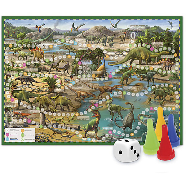 Игра-ходилка с фишками Путешествие в мир динозавровНастольные игры ходилки<br>Характеристики товара:<br><br>• возраст от 3 лет;<br>• материал: картон;<br>• количество игроков: от 2 до 4<br>• время одной игры: от 20 минут<br>• в комплекте: игровое поле, 4 фишки, кубик;<br>• размер игрового поля 59х42 см;<br>• размер упаковки 29,5х21,5х1,5 см;<br>• страна производитель: Россия.<br><br>Игра-ходилка «Путешествие в мир динозавров» ГеоДом - увлекательная игра, которая познакомит детей с удивительным миром доисторических обитателей нашей планеты. Бросая кубик, в игре предстоит продвигаться вперед. По пути дети узнают много интересных фактов про динозавров, познакомятся с различными видами, отправятся в захватывающие и опасные приключения.<br><br>Игру-ходилку «Путешествие в мир динозавров» ГеоДом можно приобрести в нашем интернет-магазине.<br><br>Ширина мм: 595<br>Глубина мм: 420<br>Высота мм: 50<br>Вес г: 83<br>Возраст от месяцев: 36<br>Возраст до месяцев: 2147483647<br>Пол: Унисекс<br>Возраст: Детский<br>SKU: 5518170