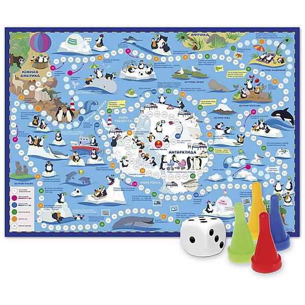 Игра-ходилка с фишками Путешествие пингвинов. АнтарктидаНастольные игры ходилки<br>Характеристики товара:<br><br>• возраст от 3 лет;<br>• материал: картон;<br>• количество игроков: от 2 до 4<br>• время одной игры: от 20 минут<br>• в комплекте: игровое поле, 4 фишки, кубик;<br>• размер игрового поля 59х42 см;<br>• размер упаковки 29,5х21,5х1,5 см;<br>• страна производитель: Россия.<br><br>Игра-ходилка «Путешествие пингвинов. Антарктида» ГеоДом - увлекательная игра, которая познакомит детей с удивительным миром ледяного материка Антарктида. Бросая кубик, в игре предстоит продвигаться вперед. По пути дети познакомятся с забавными обитателями пингвинами, а также узнают много интересных фактов про Антарктиду и жизнь на ней.<br><br>Игру-ходилку «Путешествие пингвинов. Антарктида» ГеоДом можно приобрести в нашем интернет-магазине.<br>Ширина мм: 595; Глубина мм: 420; Высота мм: 50; Вес г: 83; Возраст от месяцев: 36; Возраст до месяцев: 2147483647; Пол: Унисекс; Возраст: Детский; SKU: 5518171;