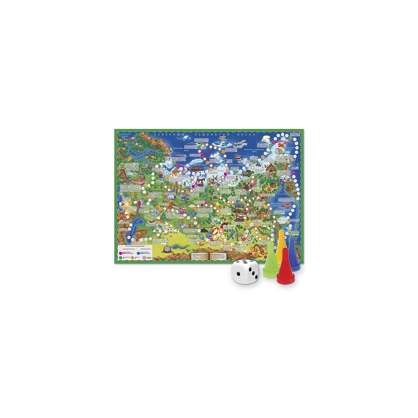 Игра-ходилка с фишками Путешествие по РоссииНастольные игры<br>Характеристики товара:<br><br>• возраст от 6 лет;<br>• материал: картон;<br>• количество игроков: от 2 до 4<br>• время одной игры: от 20 минут<br>• в комплекте: игровое поле, 4 фишки, кубик;<br>• размер игрового поля 59х42 см;<br>• размер упаковки 31х23х2 см;<br>• страна производитель: Россия.<br><br>Игра-ходилка «Путешествие по России» ГеоДом отправит в увлекательное путешествие по нашей стране. На игровом поле изображены известные достопримечательности. Бросая кубик, надо продвигаться вперед, преодолевая путь от Калининграда до Владивостока. На пути дети познакомятся с самыми красивыми городами и уголками нашей страны.<br><br>Игру-ходилку «Путешествие по России» ГеоДом можно приобрести в нашем интернет-магазине.<br><br>Ширина мм: 595<br>Глубина мм: 420<br>Высота мм: 50<br>Вес г: 83<br>Возраст от месяцев: 36<br>Возраст до месяцев: 2147483647<br>Пол: Унисекс<br>Возраст: Детский<br>SKU: 5518172