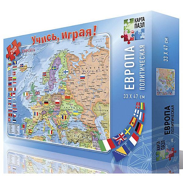 Карта-пазл Европа политическая, 260 деталейПазлы классические<br>Характеристики товара:<br><br>• возраст от 6 лет;<br>• материал: картон;<br>• в комплекте: 260 деталей;<br>• размер пазла 47х33 см;<br>• размер упаковки 40х29х19 см;<br>• страна производитель: Россия.<br><br>Карта-пазл «Европа политическая» ГеоДом позволит детям увлекательно и познавательно провести время. На карте изображены европейские страны, их столицы и флаги, с которыми познакомится ребенок в процессе сборки. Пазл состоит из 260 деталей, собирая которые, у ребенка развивается мелкая моторика рук, логическое и пространственное мышление, внимательность, усидчивость.<br><br>Карту-пазл «Европа политическая» ГеоДом можно приобрести в нашем интернет-магазине.<br>Ширина мм: 290; Глубина мм: 190; Высота мм: 400; Вес г: 228; Возраст от месяцев: 72; Возраст до месяцев: 2147483647; Пол: Унисекс; Возраст: Детский; SKU: 5518178;