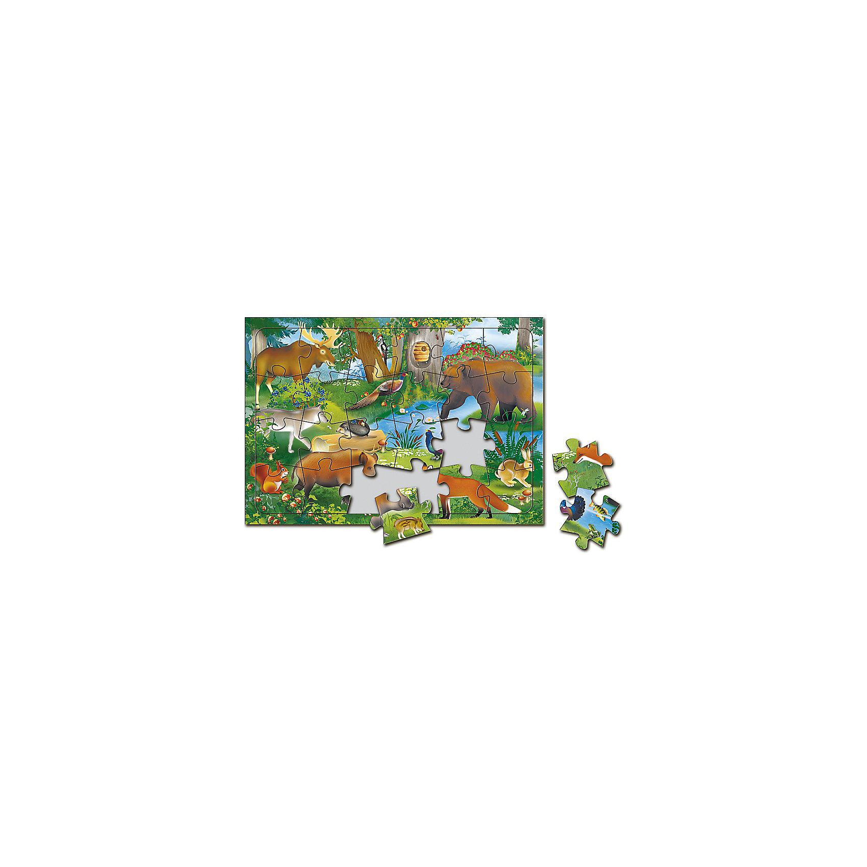 Пазл листовой на подложке В лесу, 24 деталиПазлы для малышей<br>Характеристики товара:<br><br>• возраст от 3 лет;<br>• материал: картон;<br>• в комплекте: 24 детали;<br>• размер пазла 20х28,5 см;<br>• размер упаковки 29х20х5 см;<br>• страна производитель: Россия.<br><br>Пазл листовой на подложке «В лесу» ГеоДом позволит малышам весело и увлекательно провести время, собирая яркую картинку. Малыш не только интересно проведет время, но и познакомится с животными и птицами, которые обитают в лесу. В процессе сборки пазла у малышей развивается пространственное мышление, моторика рук, внимательность.<br><br>Пазл листовой на подложке «В лесу» ГеоДом можно приобрести в нашем интернет-магазине.<br><br>Ширина мм: 290<br>Глубина мм: 200<br>Высота мм: 50<br>Вес г: 132<br>Возраст от месяцев: 36<br>Возраст до месяцев: 2147483647<br>Пол: Унисекс<br>Возраст: Детский<br>SKU: 5518186