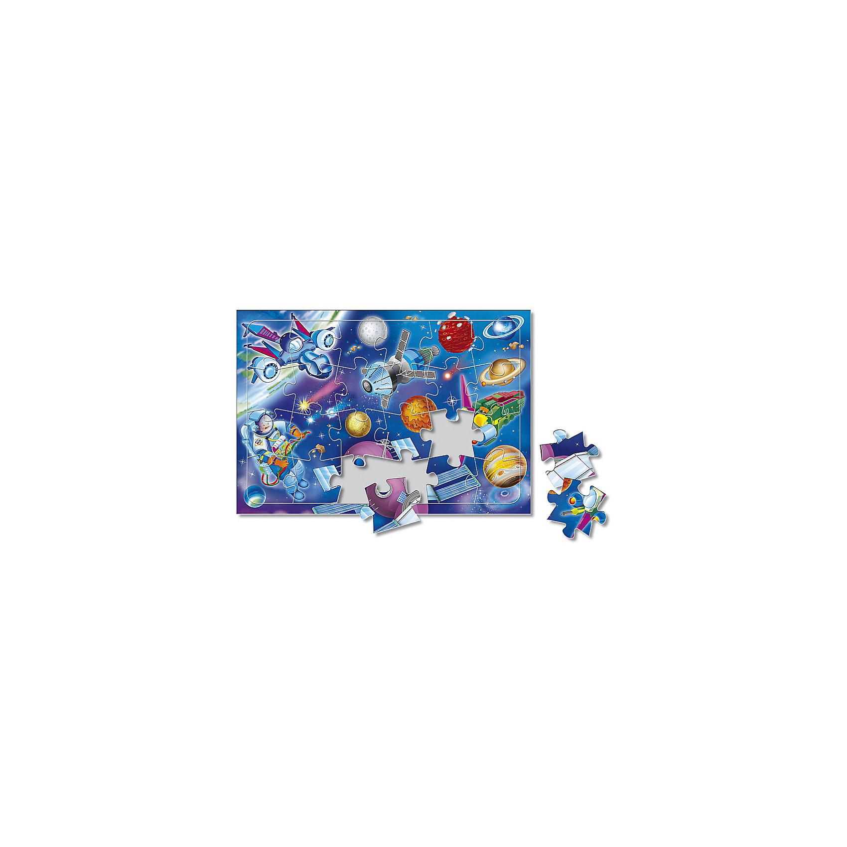 Пазл листовой на подложке В космосе, 24 деталиПазлы для малышей<br>Характеристики товара:<br><br>• возраст от 3 лет;<br>• материал: картон;<br>• в комплекте: 24 детали;<br>• размер пазла 20х28,5 см;<br>• размер упаковки 29х20х5 см;<br>• страна производитель: Россия.<br><br>Пазл листовой на подложке «В космосе» ГеоДом позволит малышам весело и познавательно провести время. Малыш не только увлекательно проведет время, но и познакомится с планетами и звездами нашей Вселенной. В процессе сборки пазла у малышей развивается пространственное мышление, моторика рук, внимательность.<br><br>Пазл листовой на подложке «В космосе» ГеоДом можно приобрести в нашем интернет-магазине.<br><br>Ширина мм: 290<br>Глубина мм: 200<br>Высота мм: 50<br>Вес г: 132<br>Возраст от месяцев: 36<br>Возраст до месяцев: 2147483647<br>Пол: Унисекс<br>Возраст: Детский<br>SKU: 5518187