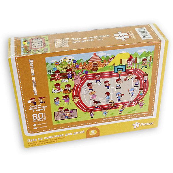 Пазл на подставке Детская площадка, 80 деталейПазлы для малышей<br>Характеристики товара:<br><br>• возраст от 3 лет;<br>• материал: картон, пластик;<br>• в комплекте: 80 деталей, 2 подставки;<br>• размер пазла 32х25,6 см;<br>• размер упаковки 32х25,6х5 см;<br>• страна производитель: Китай.<br><br>Пазл на подставке «Детская площадка» ГеоДом позволит детям увлекательно провести время. На картинке изображены дети, которые занимаются на детской площадке и играют в игры. Готовый пазл крепится на специальную подставку, им можно украсить детскую комнату. Собирание пазла развивает у детей концентрацию внимания, мелкую моторику рук, логическое мышление, усидчивость.<br><br>Пазл на подставке «Детская площадка» ГеоДом можно приобрести в нашем интернет-магазине.<br><br>Ширина мм: 256<br>Глубина мм: 320<br>Высота мм: 50<br>Вес г: 337<br>Возраст от месяцев: 36<br>Возраст до месяцев: 2147483647<br>Пол: Унисекс<br>Возраст: Детский<br>SKU: 5518190