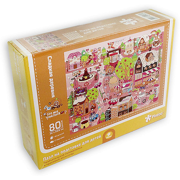 Пазл на подставке Сладкая деревня, 80 деталейПазлы для малышей<br>Характеристики товара:<br><br>• возраст от 3 лет;<br>• материал: картон, пластик;<br>• в комплекте: 80 деталей, 2 подставки;<br>• размер пазла 32х25,6 см;<br>• размер упаковки 32х25,6х5 см;<br>• страна производитель: Китай.<br><br>Пазл на подставке «Сладкая деревня» ГеоДом позволит детям увлекательно провести время. Готовый пазл крепится на специальную подставку, им можно украсить детскую комнату. Собирание пазла развивает у детей концентрацию внимания, мелкую моторику рук, логическое мышление, усидчивость.<br><br>Пазл на подставке «Сладкая деревня» ГеоДом можно приобрести в нашем интернет-магазине.<br>Ширина мм: 256; Глубина мм: 320; Высота мм: 50; Вес г: 337; Возраст от месяцев: 36; Возраст до месяцев: 2147483647; Пол: Унисекс; Возраст: Детский; SKU: 5518191;