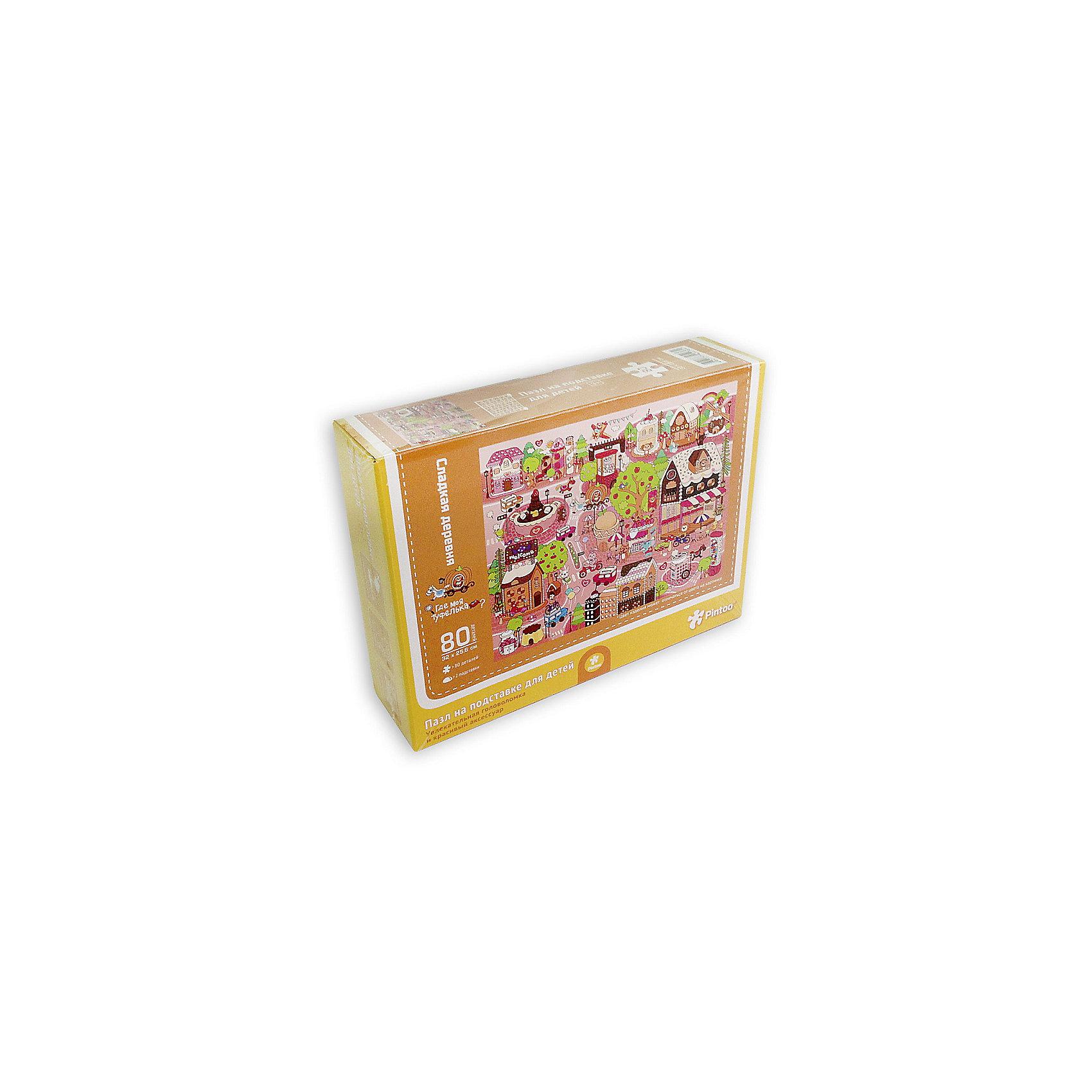 Пазл на подставке Сладкая деревня, 80 деталейПазлы для малышей<br>Характеристики товара:<br><br>• возраст от 3 лет;<br>• материал: картон, пластик;<br>• в комплекте: 80 деталей, 2 подставки;<br>• размер пазла 32х25,6 см;<br>• размер упаковки 32х25,6х5 см;<br>• страна производитель: Китай.<br><br>Пазл на подставке «Сладкая деревня» ГеоДом позволит детям увлекательно провести время. Готовый пазл крепится на специальную подставку, им можно украсить детскую комнату. Собирание пазла развивает у детей концентрацию внимания, мелкую моторику рук, логическое мышление, усидчивость.<br><br>Пазл на подставке «Сладкая деревня» ГеоДом можно приобрести в нашем интернет-магазине.<br><br>Ширина мм: 256<br>Глубина мм: 320<br>Высота мм: 50<br>Вес г: 337<br>Возраст от месяцев: 36<br>Возраст до месяцев: 2147483647<br>Пол: Унисекс<br>Возраст: Детский<br>SKU: 5518191