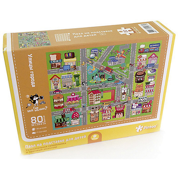 Пазл на подставке Улицы города, 80 деталейПазлы для малышей<br>Характеристики товара:<br><br>• возраст от 3 лет;<br>• материал: картон, пластик;<br>• в комплекте: 80 деталей, 2 подставки;<br>• размер пазла 32х25,6 см;<br>• размер упаковки 32х25,6х5 см;<br>• страна производитель: Китай.<br><br>Пазл на подставке «Улицы города» ГеоДом позволит детям увлекательно провести время. Готовый пазл крепится на специальную подставку, им можно украсить детскую комнату. Собирание пазла развивает у детей концентрацию внимания, мелкую моторику рук, логическое мышление, усидчивость.<br><br>Пазл на подставке «Улицы города» ГеоДом можно приобрести в нашем интернет-магазине.<br>Ширина мм: 256; Глубина мм: 320; Высота мм: 50; Вес г: 337; Возраст от месяцев: 36; Возраст до месяцев: 2147483647; Пол: Унисекс; Возраст: Детский; SKU: 5518192;