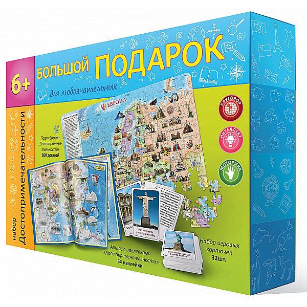 Пазл 260 деталей Достопримечательности, + атлас с наклейками + игровые карточкиПазлы классические<br>Характеристики товара:<br><br>• возраст от 6 лет;<br>• материал: картон;<br>• в комплекте: пазл 260 деталей, атлас, наклейки, набор игровых карточек;<br>• размер пазла 33х47 см;<br>• размер упаковки 31х22х5 см;<br>• страна производитель: Россия.<br><br>Набор «Пазл Достопримечательности + атлас с наклейками + игровые карточки» ГеоДом позволит увлекательно и познавательно провести время. В наборе пазл с изображением карты Европы и ее известных достопримечательностей, музеев, парков, дворцов, игровые карточки с известными местами и атлас с наклейками. Ребенок познакомится с окружающим миром, известными и красивыми местами на нашей планете, памятниками архитектуры, миром животных.<br><br>Набор «Пазл Достопримечательности + атлас с наклейками + игровые карточки» ГеоДом можно приобрести в нашем интернет-магазине.<br>Ширина мм: 310; Глубина мм: 220; Высота мм: 50; Вес г: 493; Возраст от месяцев: 72; Возраст до месяцев: 2147483647; Пол: Унисекс; Возраст: Детский; SKU: 5518193;