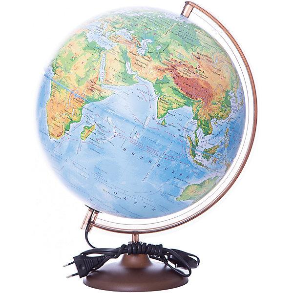 Глобус Земли физический с подсветкой, диаметр 320 ммГлобусы<br>Характеристики товара:<br><br>• возраст от 6 лет;<br>• материал: пластик;<br>• работает от сети<br>• диаметр глобуса 320 мм;<br>• масштаб 1:40000000;<br>• размер упаковки 34,3х34,3х35,5 см;<br>• вес упаковки 1,025 кг;<br>• страна производитель: Россия.<br><br>Глобус Земли физический с подсветкой, 320 мм Глобусный мир — уменьшенная копия нашей планеты. Глобус станет отличным дополнением для школьника или студента. На нем нанесены моря, океаны, рельеф суши, острова, материки. Он позволит поближе познакомиться со строением нашей планеты. Глобус оснащен подсветкой, которая работает от сети.<br><br>Глобус Земли физический с подсветкой, 320 мм Глобусный мир можно приобрести в нашем интернет-магазине.<br>Ширина мм: 343; Глубина мм: 343; Высота мм: 355; Вес г: 1025; Возраст от месяцев: 72; Возраст до месяцев: 2147483647; Пол: Унисекс; Возраст: Детский; SKU: 5518200;