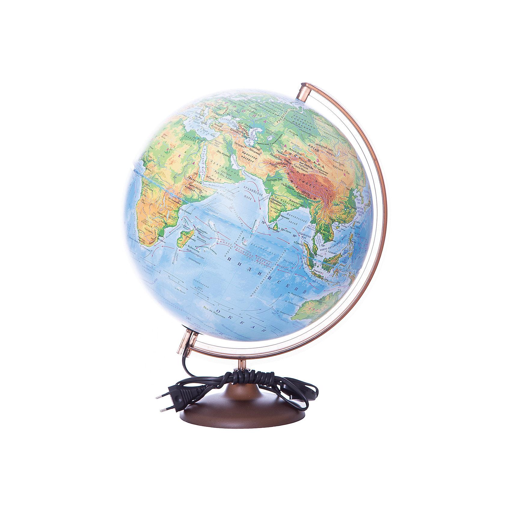 Глобус Земли физический с подсветкой, диаметр 320 ммГлобусы<br>Характеристики товара:<br><br>• возраст от 6 лет;<br>• материал: пластик;<br>• работает от сети<br>• диаметр глобуса 320 мм;<br>• масштаб 1:40000000;<br>• размер упаковки 34,3х34,3х35,5 см;<br>• вес упаковки 1,025 кг;<br>• страна производитель: Россия.<br><br>Глобус Земли физический с подсветкой, 320 мм Глобусный мир — уменьшенная копия нашей планеты. Глобус станет отличным дополнением для школьника или студента. На нем нанесены моря, океаны, рельеф суши, острова, материки. Он позволит поближе познакомиться со строением нашей планеты. Глобус оснащен подсветкой, которая работает от сети.<br><br>Глобус Земли физический с подсветкой, 320 мм Глобусный мир можно приобрести в нашем интернет-магазине.<br><br>Ширина мм: 343<br>Глубина мм: 343<br>Высота мм: 355<br>Вес г: 1025<br>Возраст от месяцев: 72<br>Возраст до месяцев: 2147483647<br>Пол: Унисекс<br>Возраст: Детский<br>SKU: 5518200