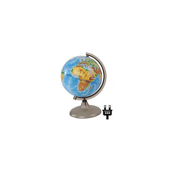 Глобус Земли физический с подсветкой, диаметр 210 ммГлобусы<br>Характеристики товара:<br><br>• возраст от 6 лет;<br>• материал: пластик, дерево;<br>• работает от сети<br>• диаметр глобуса 210 мм;<br>• масштаб 1:60000000;<br>• размер упаковки 21,7х21,7х31,5 см;<br>• вес упаковки 180 гр.;<br>• страна производитель: Россия.<br><br>Глобус Земли физический с подсветкой, 210 мм Глобусный мир — уменьшенная копия нашей планеты. Глобус станет отличным дополнением для школьника или студента. На нем нанесены моря, океаны, рельеф суши, острова, материки, страны и города. Он позволит поближе познакомиться со строением нашей планеты. Глобус оснащен подсветкой, которая работает от сети.<br><br>Глобус Земли физический с подсветкой, 210 мм Глобусный мир можно приобрести в нашем интернет-магазине.<br><br>Ширина мм: 217<br>Глубина мм: 217<br>Высота мм: 315<br>Вес г: 180<br>Возраст от месяцев: 72<br>Возраст до месяцев: 2147483647<br>Пол: Унисекс<br>Возраст: Детский<br>SKU: 5518201