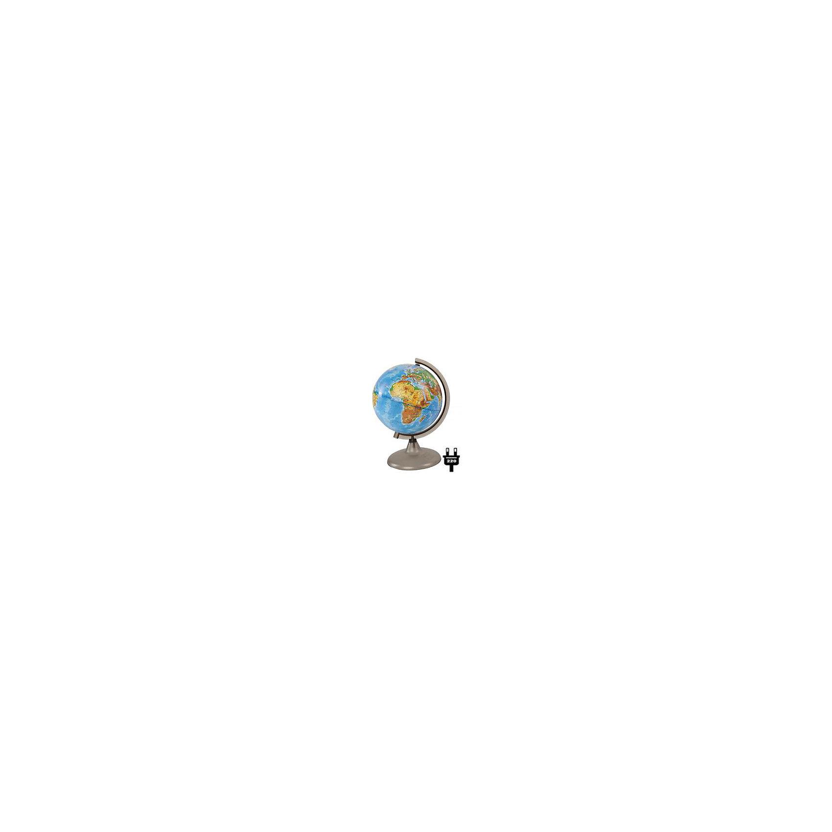 Глобус Земли физический с подсветкой, диаметр 210 ммДиаметр: 210 мм<br><br>Масштаб: 1:60000000<br><br>Материал подставки: дерево<br><br>Цвет подставки: Вишня, Орех<br><br>Ширина мм: 217<br>Глубина мм: 217<br>Высота мм: 315<br>Вес г: 180<br>Возраст от месяцев: 72<br>Возраст до месяцев: 2147483647<br>Пол: Унисекс<br>Возраст: Детский<br>SKU: 5518201