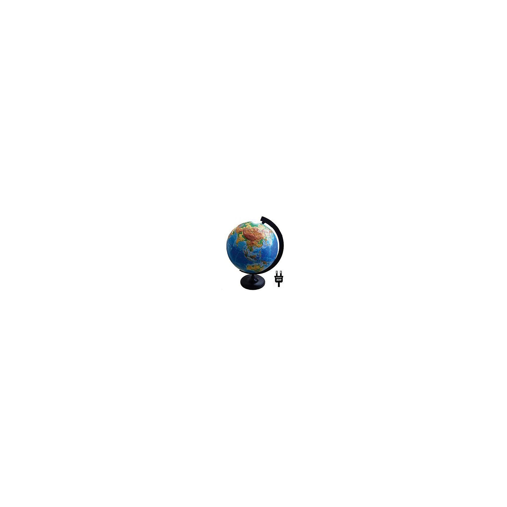 Глобус Земли физический рельефный с подсветкой, диаметр 320 ммГлобусы<br>Диаметр: 320 мм<br><br>Масштаб: 1:40000000<br><br>Материал подставки: пластик<br><br>Цвет подставки: черный<br><br>Ширина мм: 321<br>Глубина мм: 321<br>Высота мм: 345<br>Вес г: 950<br>Возраст от месяцев: 72<br>Возраст до месяцев: 2147483647<br>Пол: Унисекс<br>Возраст: Детский<br>SKU: 5518202