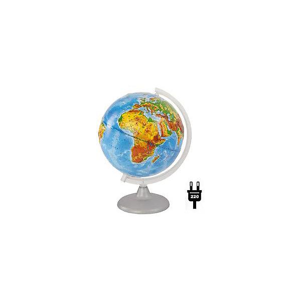 Глобус Земли физический рельефный с подсветкой, диаметр 250 ммГлобусы<br>Характеристики товара:<br><br>• возраст от 6 лет;<br>• материал: пластик;<br>• работает от сети<br>• цвет подставки: прозрачный<br>• диаметр глобуса 250 мм;<br>• масштаб 1:50000000;<br>• размер упаковки 36х26х26 см;<br>• вес упаковки 650 гр.;<br>• страна производитель: Россия.<br><br>Глобус Земли физический рельефный с подсветкой, 250 мм Глобусный мир — уменьшенная копия нашей планеты. Глобус станет отличным дополнением для школьника или студента. На нем нанесены моря, океаны, рельеф суши, острова, материки. Рельефная поверхность глобуса позволяет поближе узнать все о рельефе нашей планеты. Глобус оснащен подсветкой, которая работает от сети.<br><br>Глобус Земли физический рельефный с подсветкой, 250 мм Глобусный мир можно приобрести в нашем интернет-магазине.<br><br>Ширина мм: 260<br>Глубина мм: 260<br>Высота мм: 360<br>Вес г: 650<br>Возраст от месяцев: 72<br>Возраст до месяцев: 2147483647<br>Пол: Унисекс<br>Возраст: Детский<br>SKU: 5518203