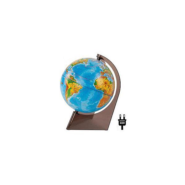 Глобус Земли физический на треугольнике с подсветкой, диаметр 210 ммГлобусы<br>Характеристики товара:<br><br>• возраст от 6 лет;<br>• материал: пластик;<br>• работает от сети<br>• цвет корпуса: прозрачный<br>• диаметр глобуса 210 мм;<br>• масштаб 1:60000000;<br>• размер упаковки 21,7х21,7х31,5 см;<br>• вес упаковки 800 гр.;<br>• страна производитель: Россия.<br><br>Глобус Земли физический на треугольнике с подсветкой, 210 мм Глобусный мир — уменьшенная копия нашей планеты. Глобус станет отличным дополнением для школьника или студента. На нем нанесены моря, океаны, рельеф суши, острова, материки, страны и города. Он позволит поближе познакомиться со строением нашей планеты. Глобус оснащен подсветкой, которая работает от сети.<br><br>Глобус Земли физический на треугольнике с подсветкой, 210 мм Глобусный мир можно приобрести в нашем интернет-магазине.<br>Ширина мм: 217; Глубина мм: 217; Высота мм: 315; Вес г: 800; Возраст от месяцев: 72; Возраст до месяцев: 2147483647; Пол: Унисекс; Возраст: Детский; SKU: 5518205;
