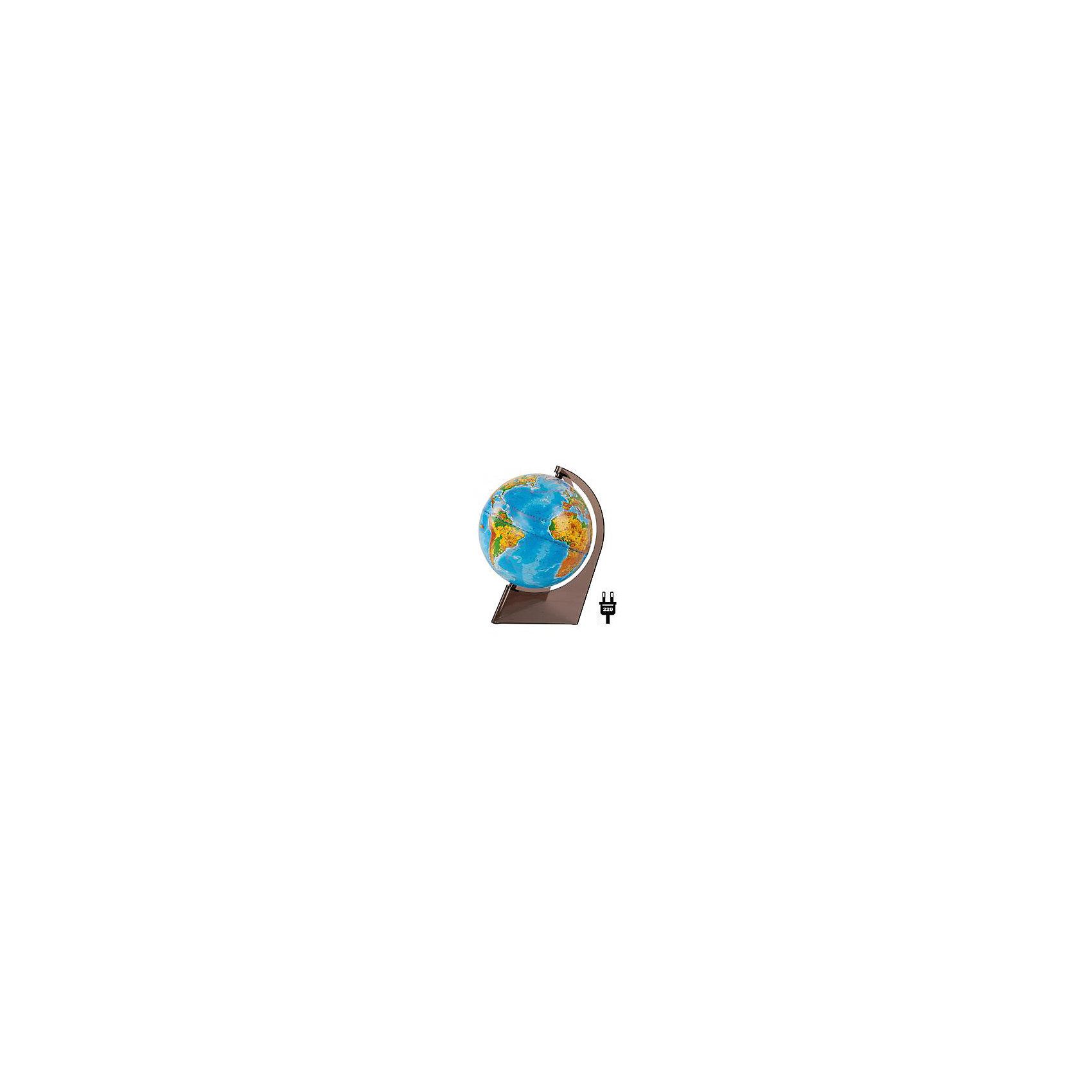 Глобус Земли физический на треугольнике с подсветкой, диаметр 210 ммГлобусы<br>Характеристики товара:<br><br>• возраст от 6 лет;<br>• материал: пластик;<br>• работает от сети<br>• цвет корпуса: прозрачный<br>• диаметр глобуса 210 мм;<br>• масштаб 1:60000000;<br>• размер упаковки 21,7х21,7х31,5 см;<br>• вес упаковки 800 гр.;<br>• страна производитель: Россия.<br><br>Глобус Земли физический на треугольнике с подсветкой, 210 мм Глобусный мир — уменьшенная копия нашей планеты. Глобус станет отличным дополнением для школьника или студента. На нем нанесены моря, океаны, рельеф суши, острова, материки, страны и города. Он позволит поближе познакомиться со строением нашей планеты. Глобус оснащен подсветкой, которая работает от сети.<br><br>Глобус Земли физический на треугольнике с подсветкой, 210 мм Глобусный мир можно приобрести в нашем интернет-магазине.<br><br>Ширина мм: 217<br>Глубина мм: 217<br>Высота мм: 315<br>Вес г: 800<br>Возраст от месяцев: 72<br>Возраст до месяцев: 2147483647<br>Пол: Унисекс<br>Возраст: Детский<br>SKU: 5518205