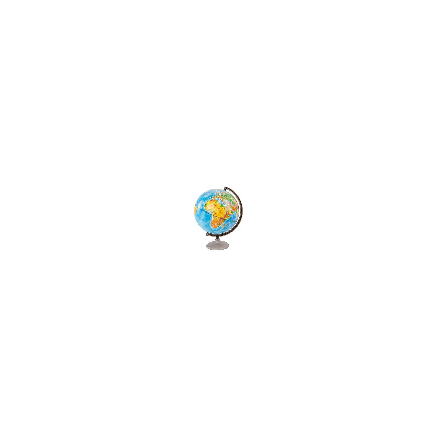 Глобус Земли физический, диаметр 320 ммГлобусы<br>Характеристики товара:<br><br>• возраст от 6 лет;<br>• материал: пластик;<br>• цвет подставки: чёрный<br>• диаметр глобуса 320 мм;<br>• масштаб 1:40000000;<br>• размер упаковки 34,5х32,1х31,2 см;<br>• вес упаковки 950 гр.;<br>• страна производитель: Россия.<br><br>Глобус Земли физический 320 мм Глобусный мир — уменьшенная копия нашей планеты. Глобус станет отличным дополнением во время изучения географии для школьника или студента. На нем можно найти расположение стран и их столиц, а также поближе познакомиться с рельефом и строением нашей планеты. На нем нанесены материки, океаны и моря, острова, глубоководные впадины, горы и возвышенности.<br><br>Глобус Земли физический 320 мм Глобусный мир можно приобрести в нашем интернет-магазине.<br><br>Ширина мм: 312<br>Глубина мм: 321<br>Высота мм: 345<br>Вес г: 950<br>Возраст от месяцев: 72<br>Возраст до месяцев: 2147483647<br>Пол: Унисекс<br>Возраст: Детский<br>SKU: 5518207