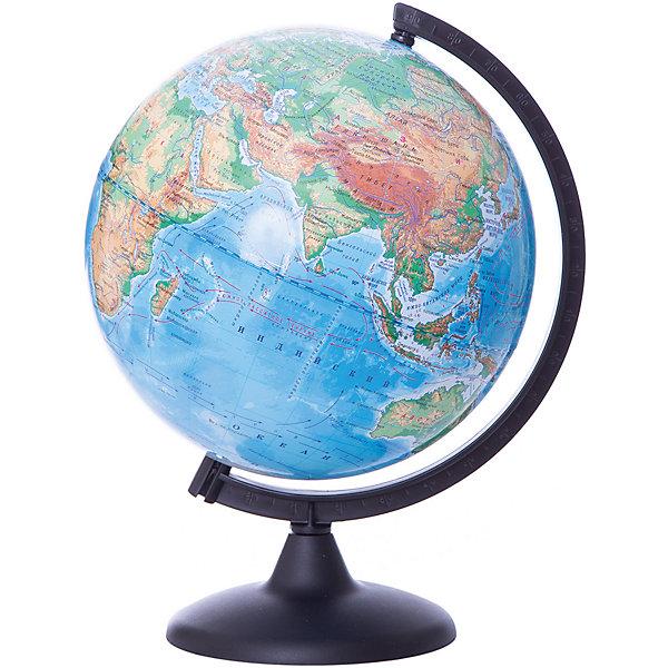 Глобус Земли физический, диаметр 250 ммГлобусы<br>Характеристики товара:<br><br>• возраст от 6 лет;<br>• материал: пластик;<br>• цвет подставки: прозрачный<br>• диаметр глобуса 250 мм;<br>• масштаб 1:50000000;<br>• размер упаковки 36х26х26 см;<br>• вес упаковки 650 гр.;<br>• страна производитель: Россия.<br><br>Глобус Земли физический 250 мм Глобусный мир — уменьшенная копия нашей планеты. Глобус станет отличным дополнением во время изучения географии для школьника или студента. На нем можно найти расположение стран и их столиц, а также поближе познакомиться с рельефом и строением нашей планеты. На нем нанесены материки, океаны и моря, острова, глубоководные впадины, горы и возвышенности.<br><br>Глобус Земли физический 250 мм Глобусный мир можно приобрести в нашем интернет-магазине.<br>Ширина мм: 260; Глубина мм: 260; Высота мм: 360; Вес г: 650; Возраст от месяцев: 72; Возраст до месяцев: 2147483647; Пол: Унисекс; Возраст: Детский; SKU: 5518208;