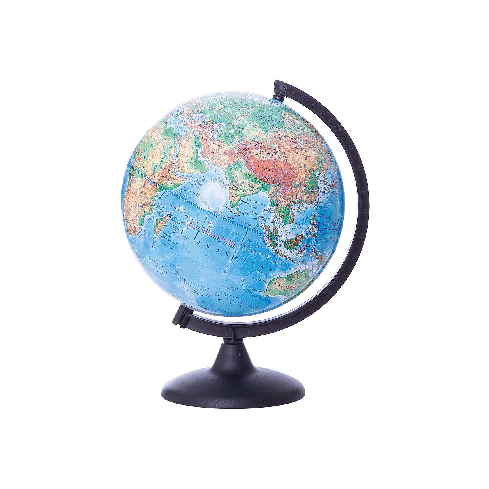 Глобус Земли физический, диаметр 250 ммГлобусы<br>Характеристики товара:<br><br>• возраст от 6 лет;<br>• материал: пластик;<br>• цвет подставки: прозрачный<br>• диаметр глобуса 250 мм;<br>• масштаб 1:50000000;<br>• размер упаковки 36х26х26 см;<br>• вес упаковки 650 гр.;<br>• страна производитель: Россия.<br><br>Глобус Земли физический 250 мм Глобусный мир — уменьшенная копия нашей планеты. Глобус станет отличным дополнением во время изучения географии для школьника или студента. На нем можно найти расположение стран и их столиц, а также поближе познакомиться с рельефом и строением нашей планеты. На нем нанесены материки, океаны и моря, острова, глубоководные впадины, горы и возвышенности.<br><br>Глобус Земли физический 250 мм Глобусный мир можно приобрести в нашем интернет-магазине.<br><br>Ширина мм: 260<br>Глубина мм: 260<br>Высота мм: 360<br>Вес г: 650<br>Возраст от месяцев: 72<br>Возраст до месяцев: 2147483647<br>Пол: Унисекс<br>Возраст: Детский<br>SKU: 5518208